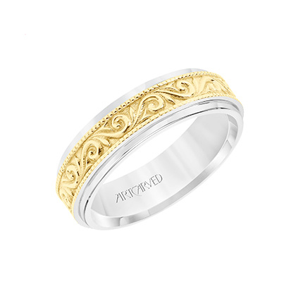 gold detail vine wedding band