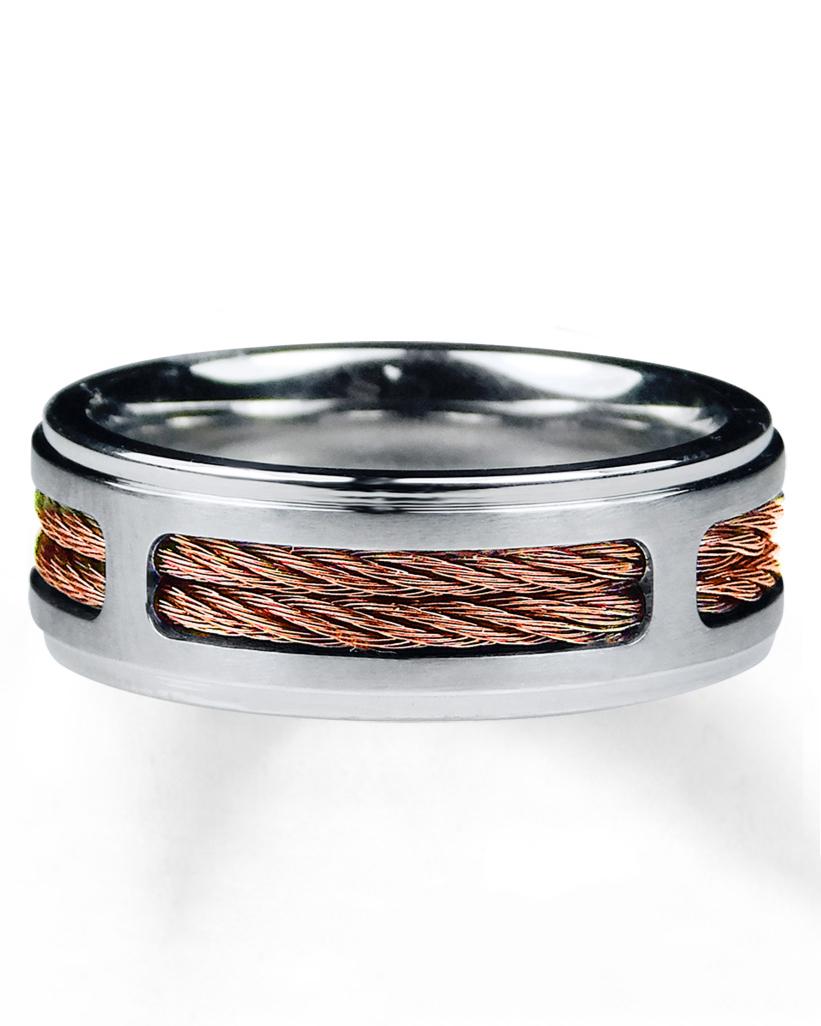 silver and gold braid wedding band