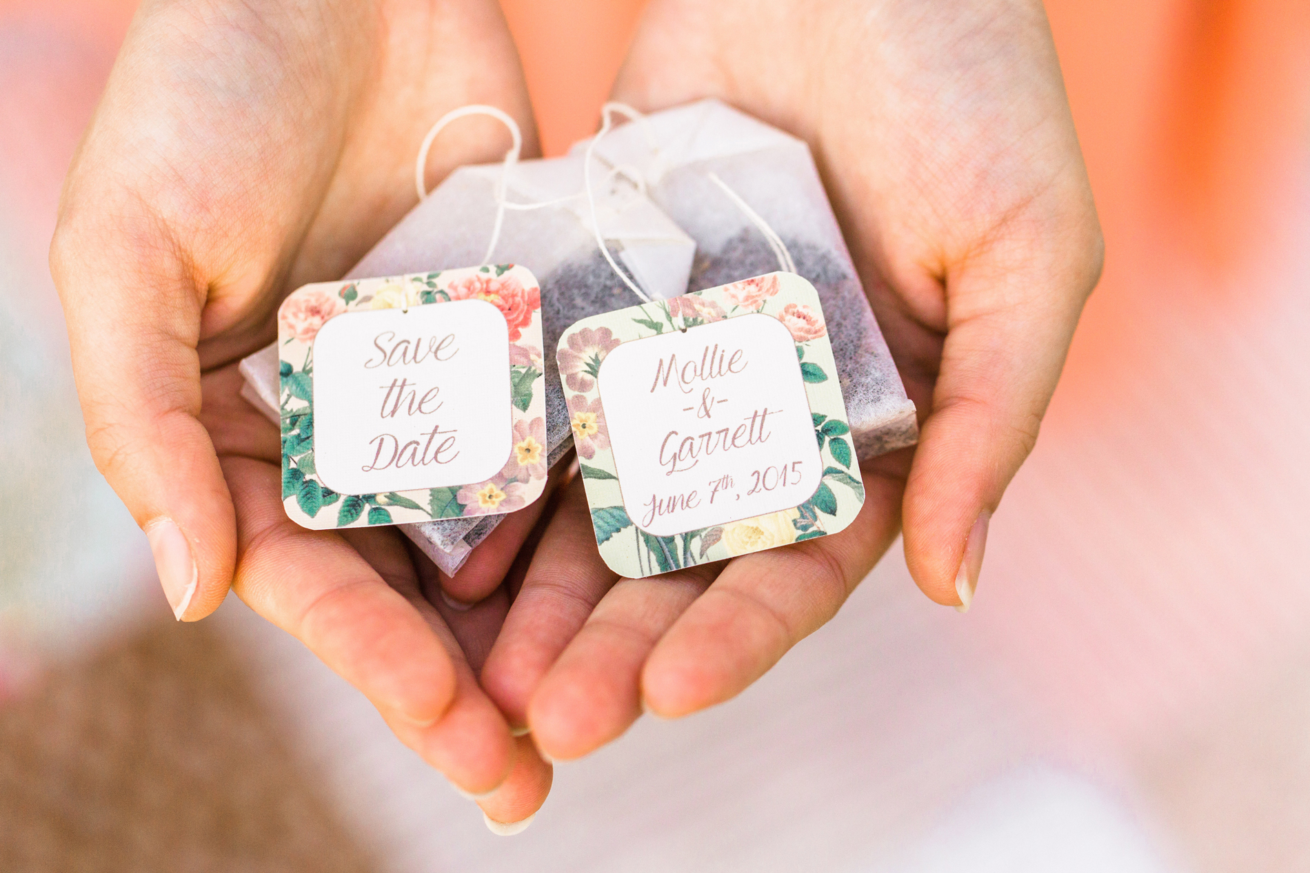 save the date tea bags with floral design edge