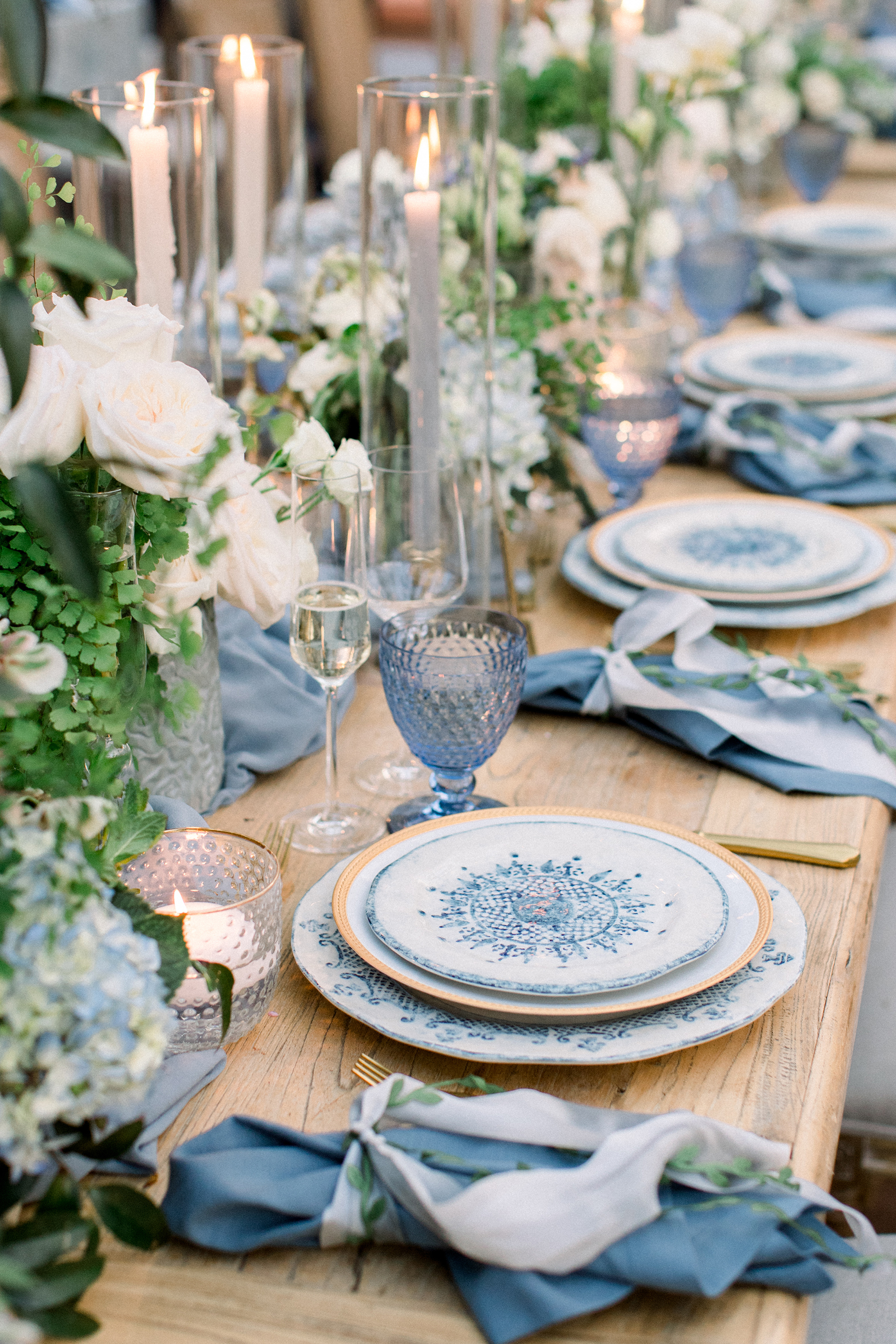 pastel blue spring place setting