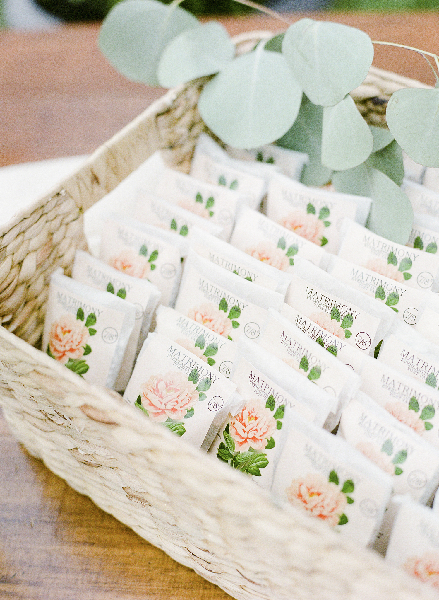 floral seed packet wedding favors