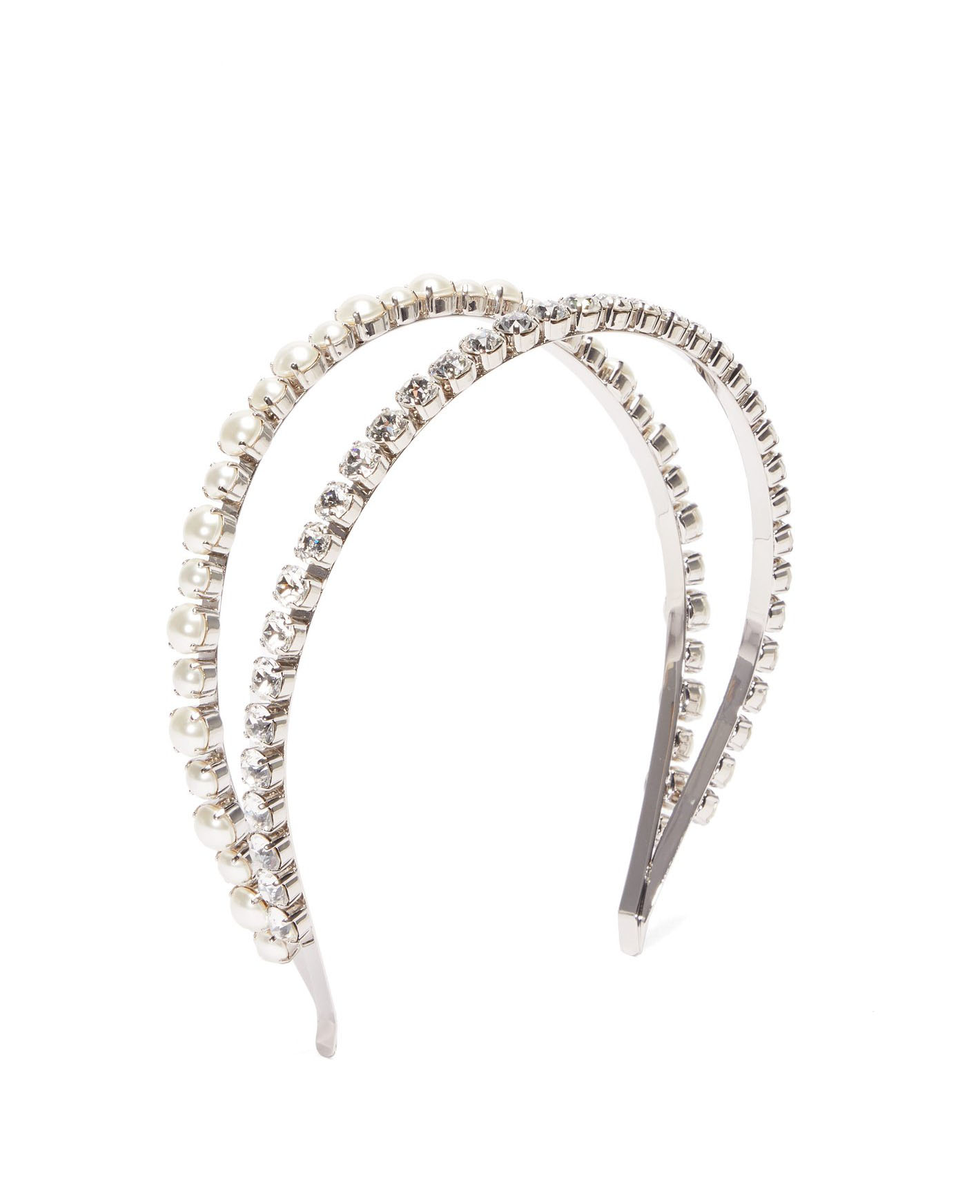 Double Crystal and Faux Pearl-Embellished Headband