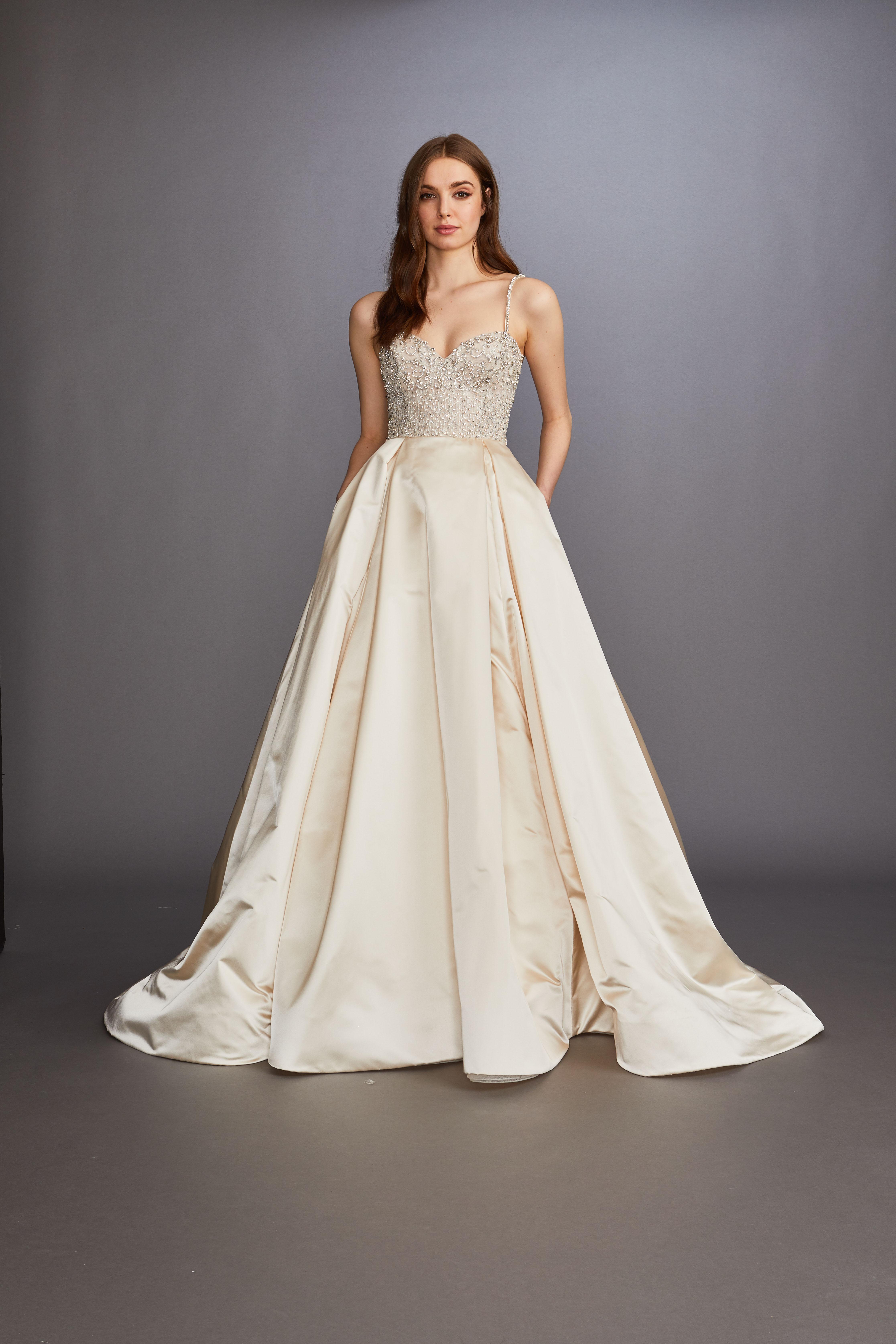 glitter beaded spaghetti strap and bodice sweetheart a-line wedding dress Lazaro Spring 2020