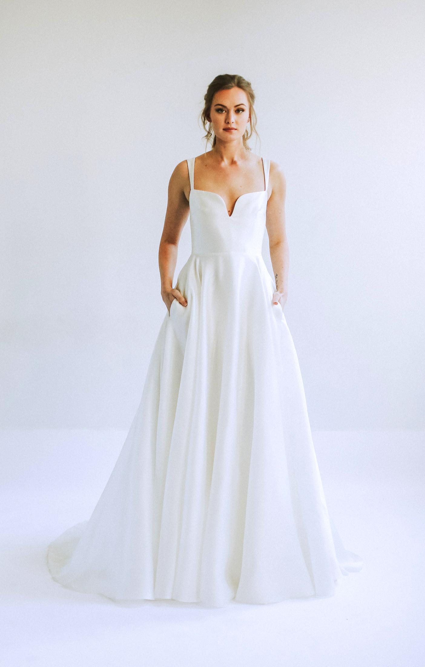 leanna marshall sleeveless short v neck a line wedding dress spring 2020