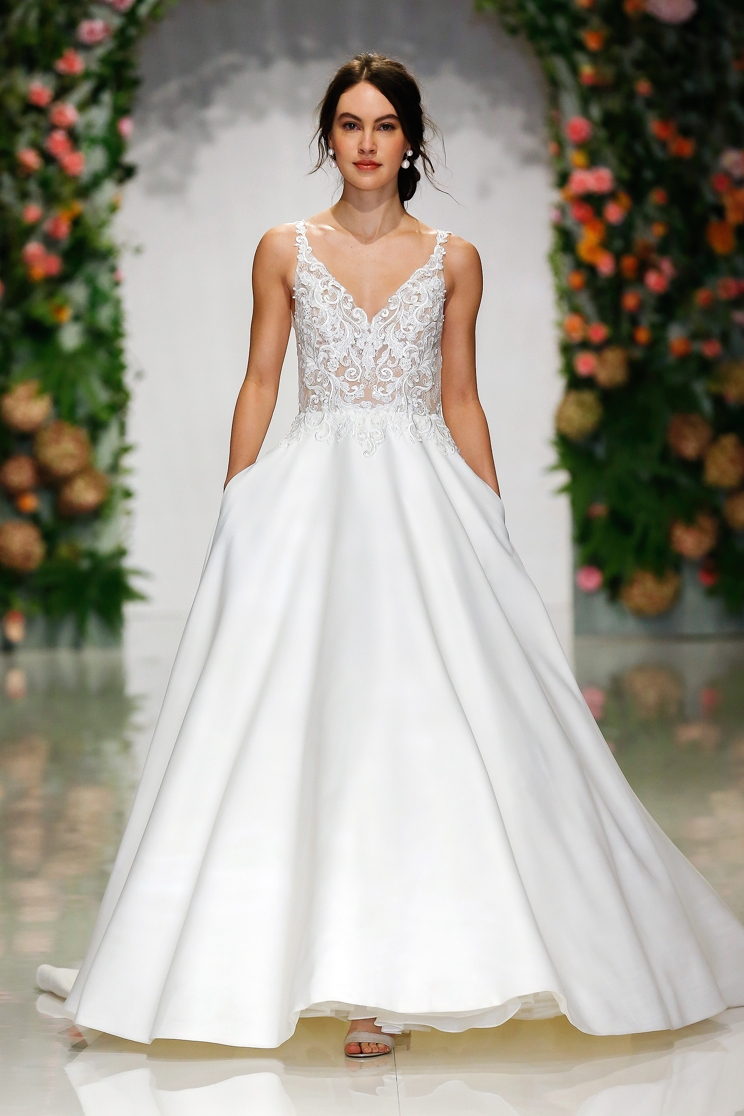 morilee madeline gardner fall 2019 sweetheart neckline lace a-line gown with pockets