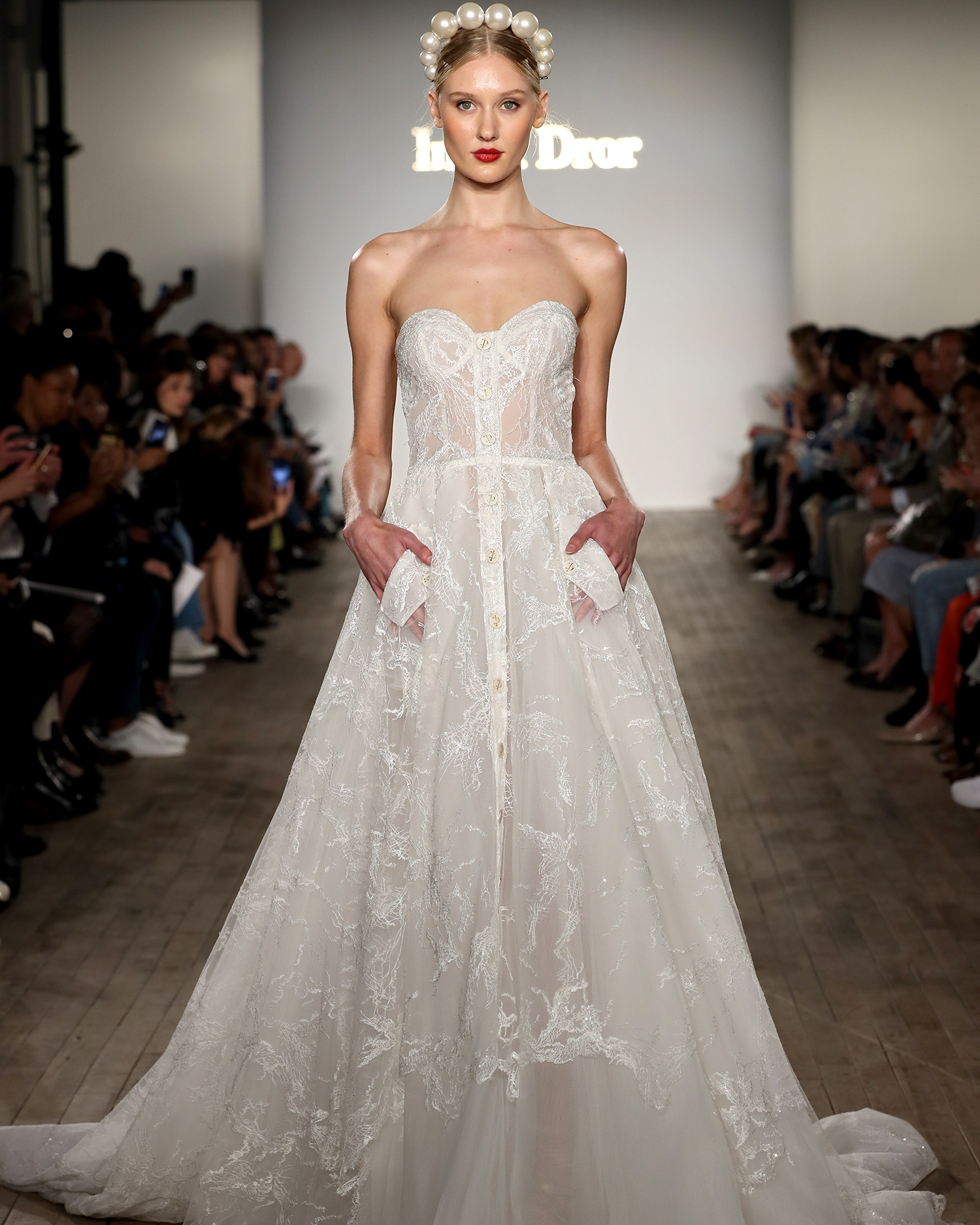 inbal dror wedding dress sweetheart a-line with button details