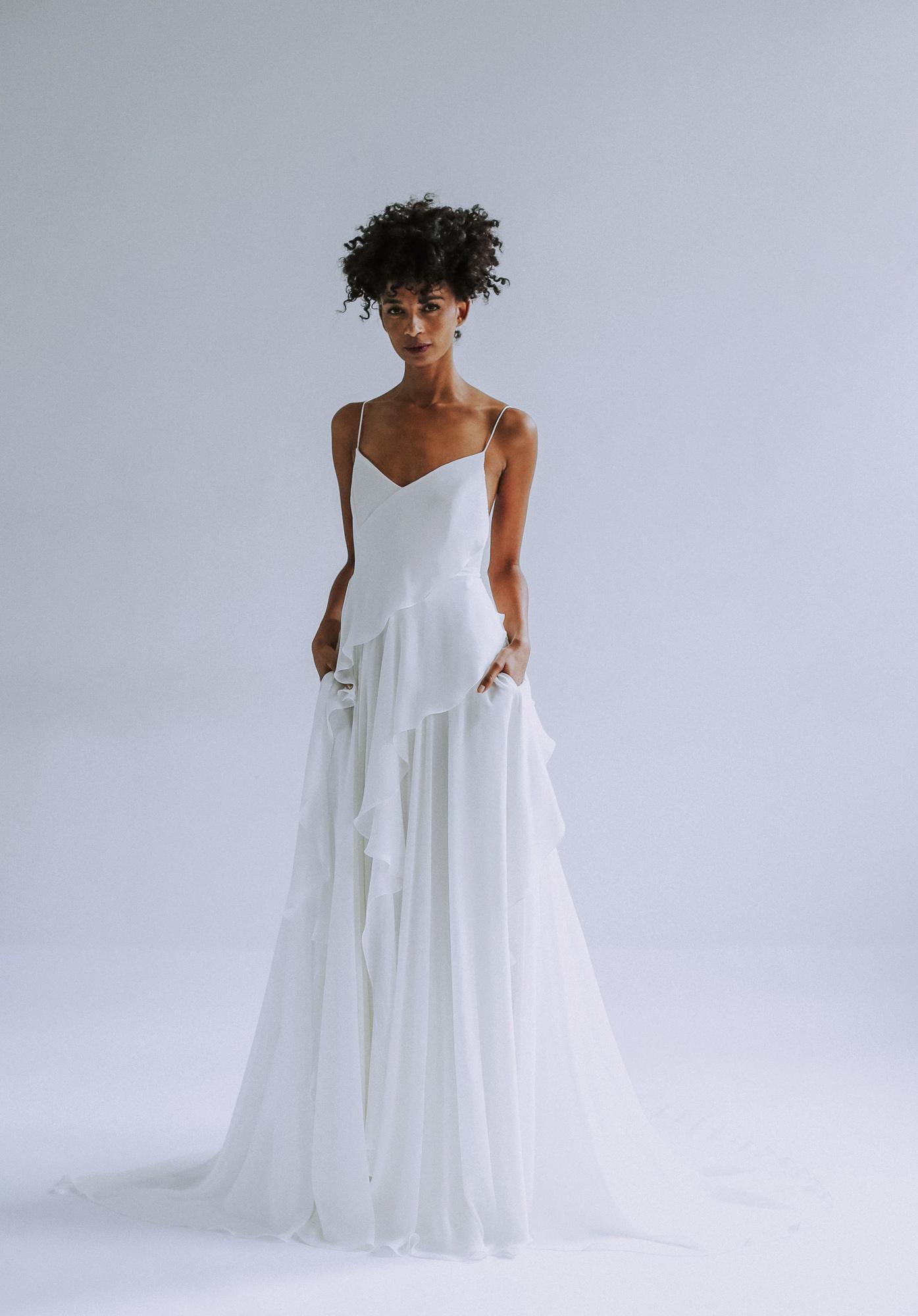 Leanne Marshall vertical ruffle wedding dress fall 2019