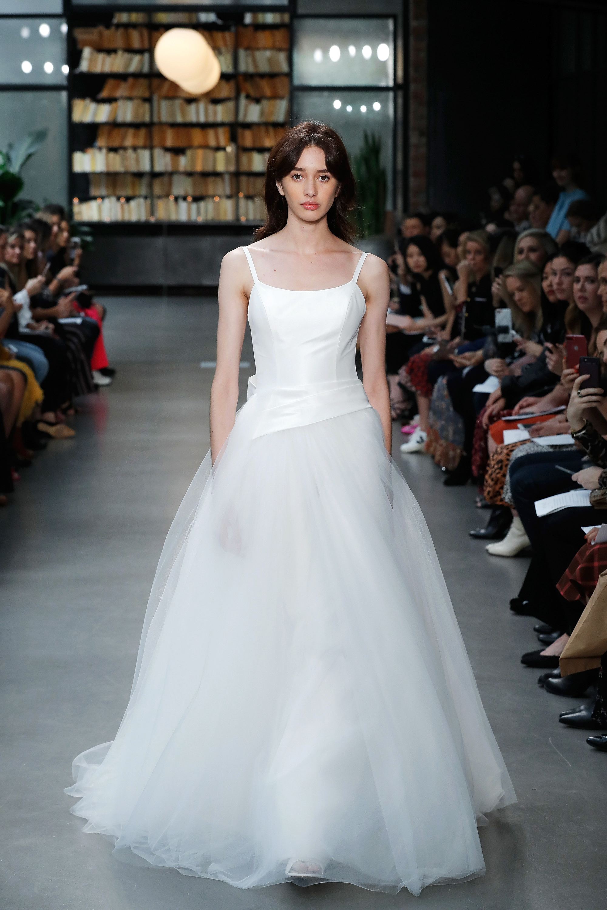 nouvelle amsale wedding dress spaghetti strap tulle ball gown