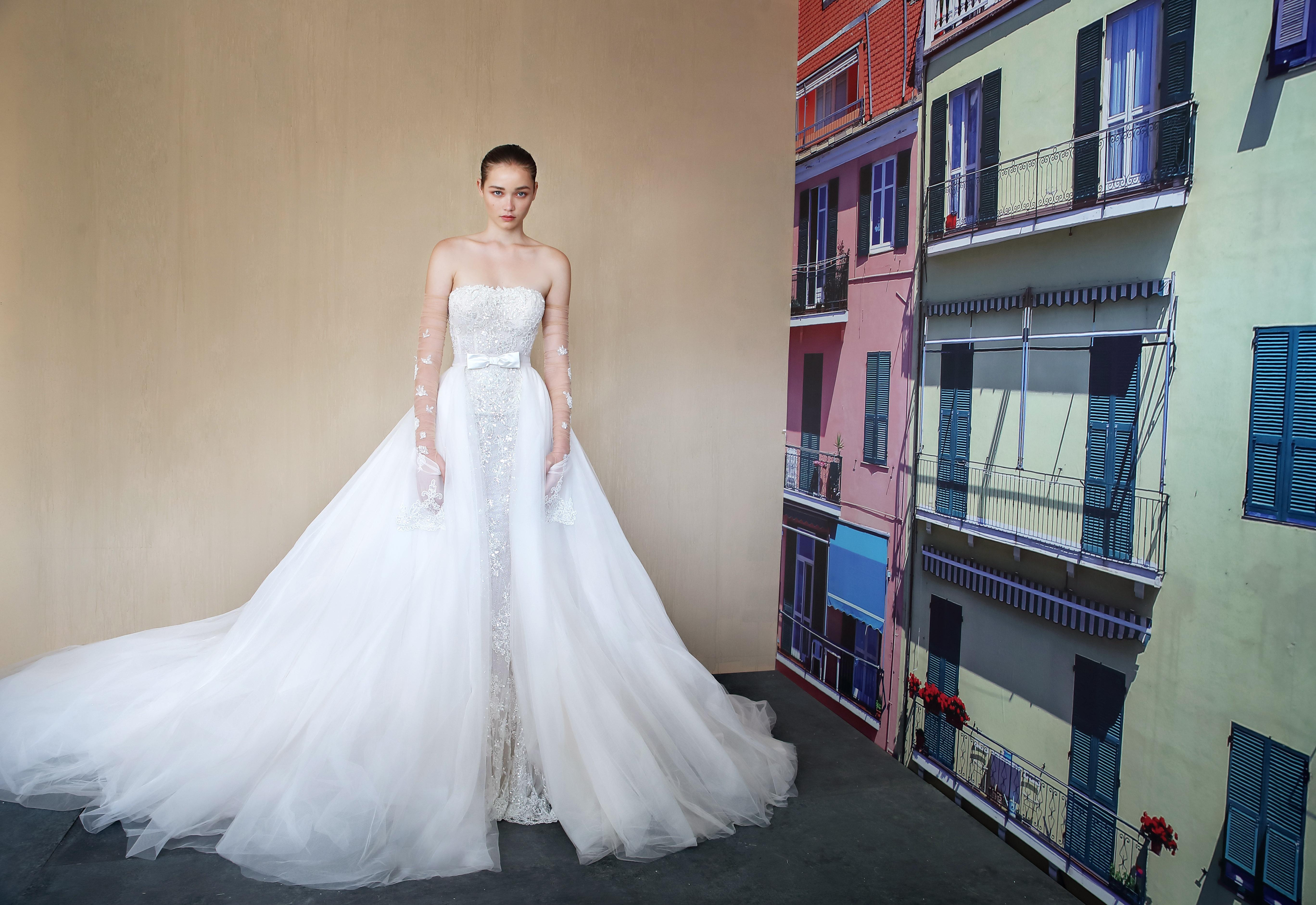 galia lahav square sheath with train wedding dress fall 2019