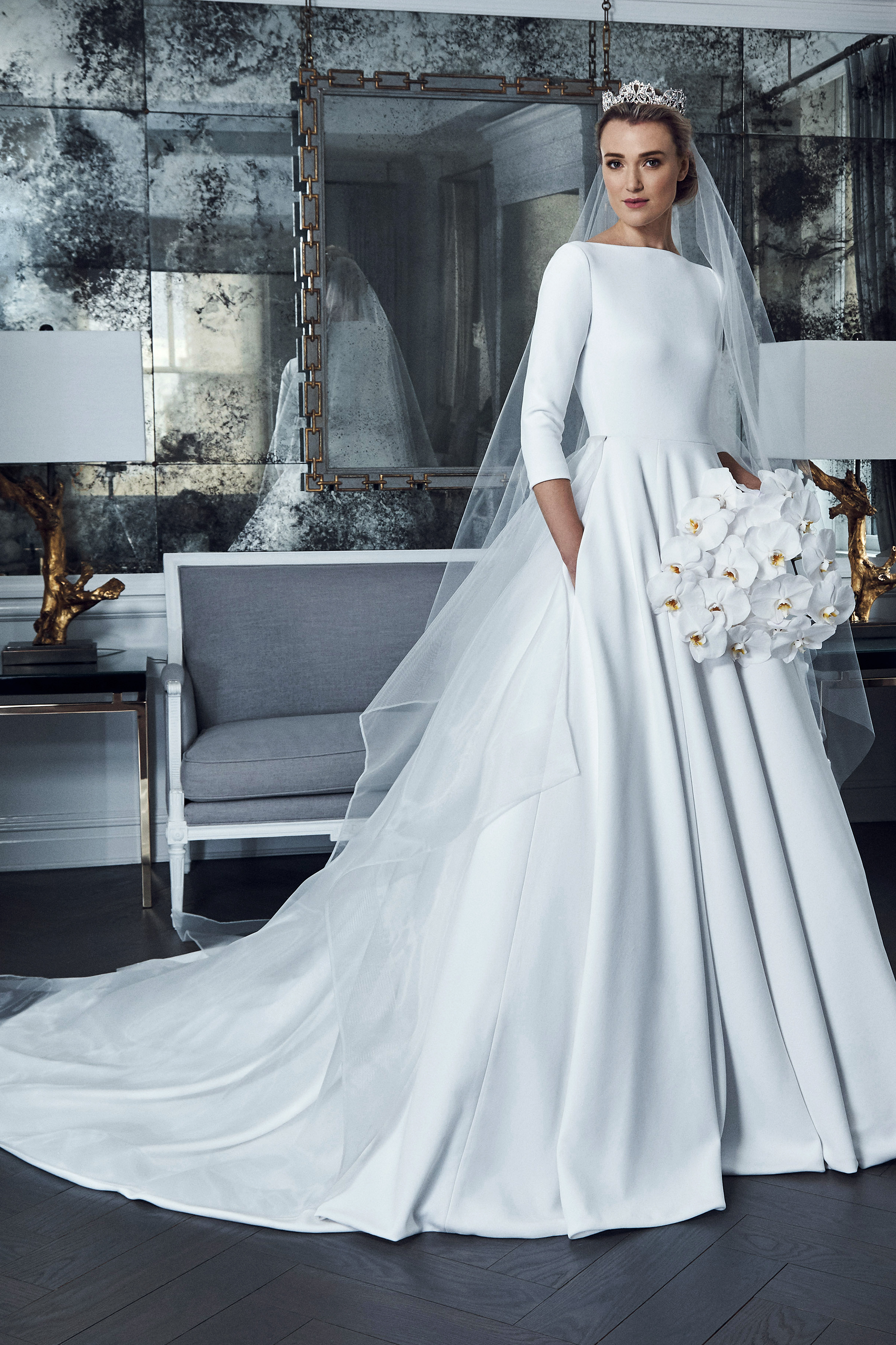 romona keveza collection wedding dress spring 2019 boat neck ball gown