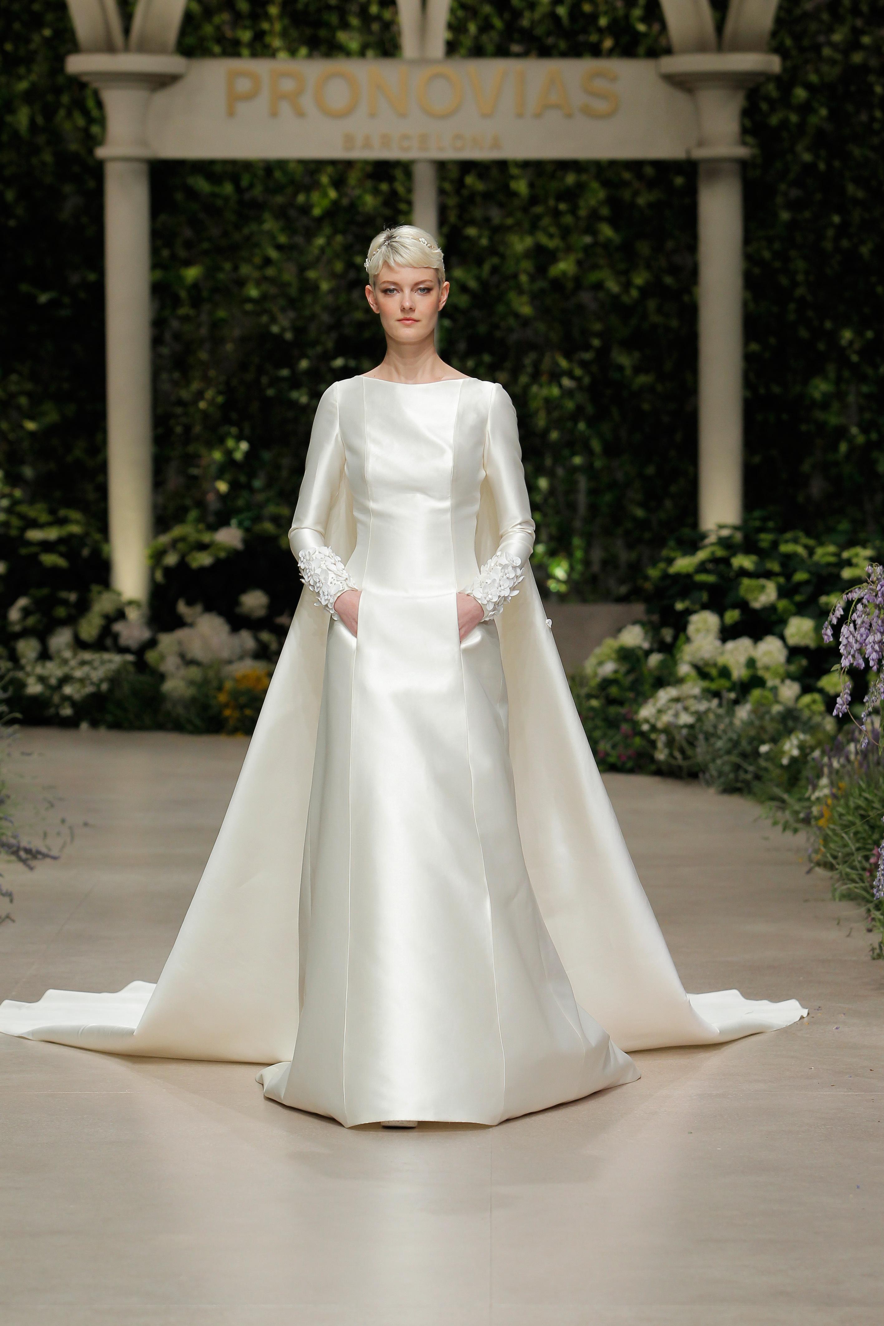 pronovias wedding dress spring 2019 satin bateau pockets