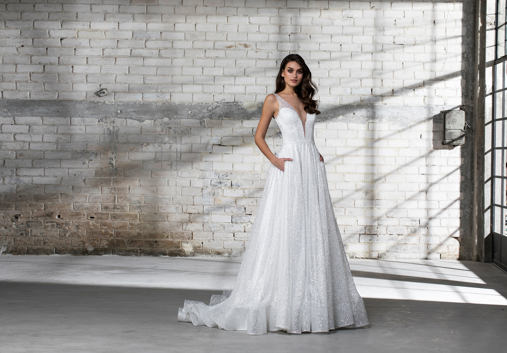 pnina tornai wedding dress spring 2019 sleeveless a-line sparkly