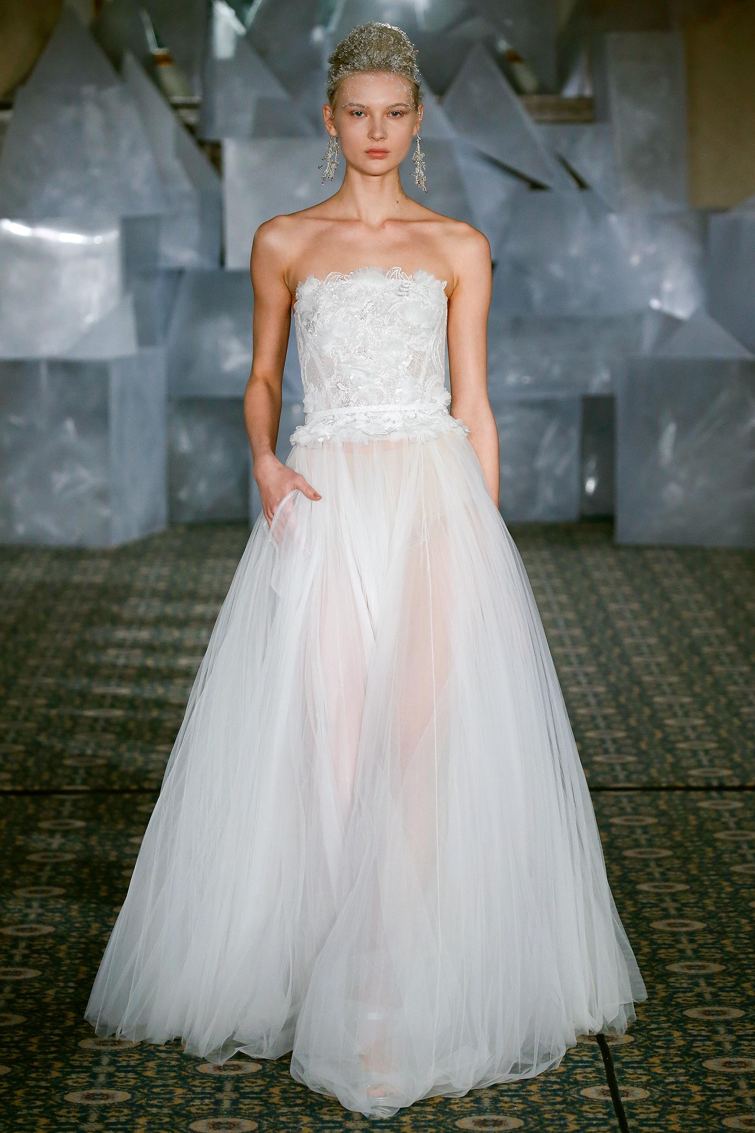 mira zwillinger wedding dress spring 2019 strapless bodice feather detail