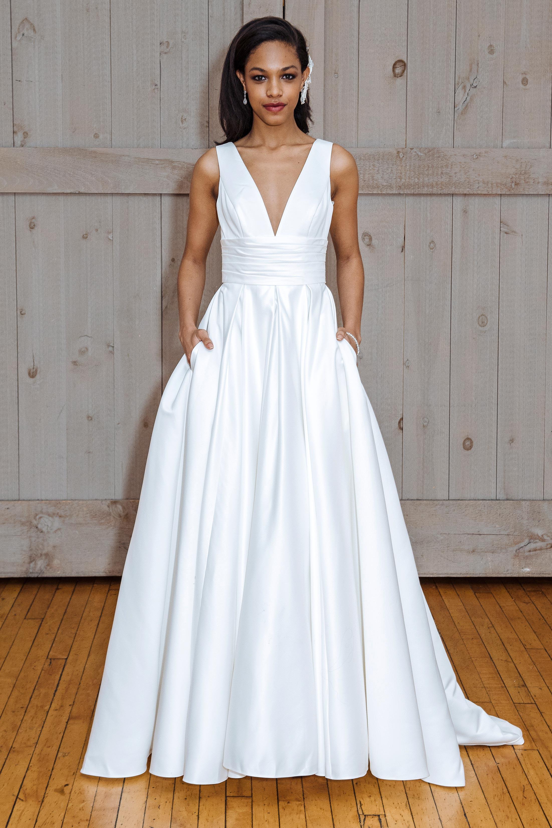 david's bridal pleated v-neck wedding dress spring 2018