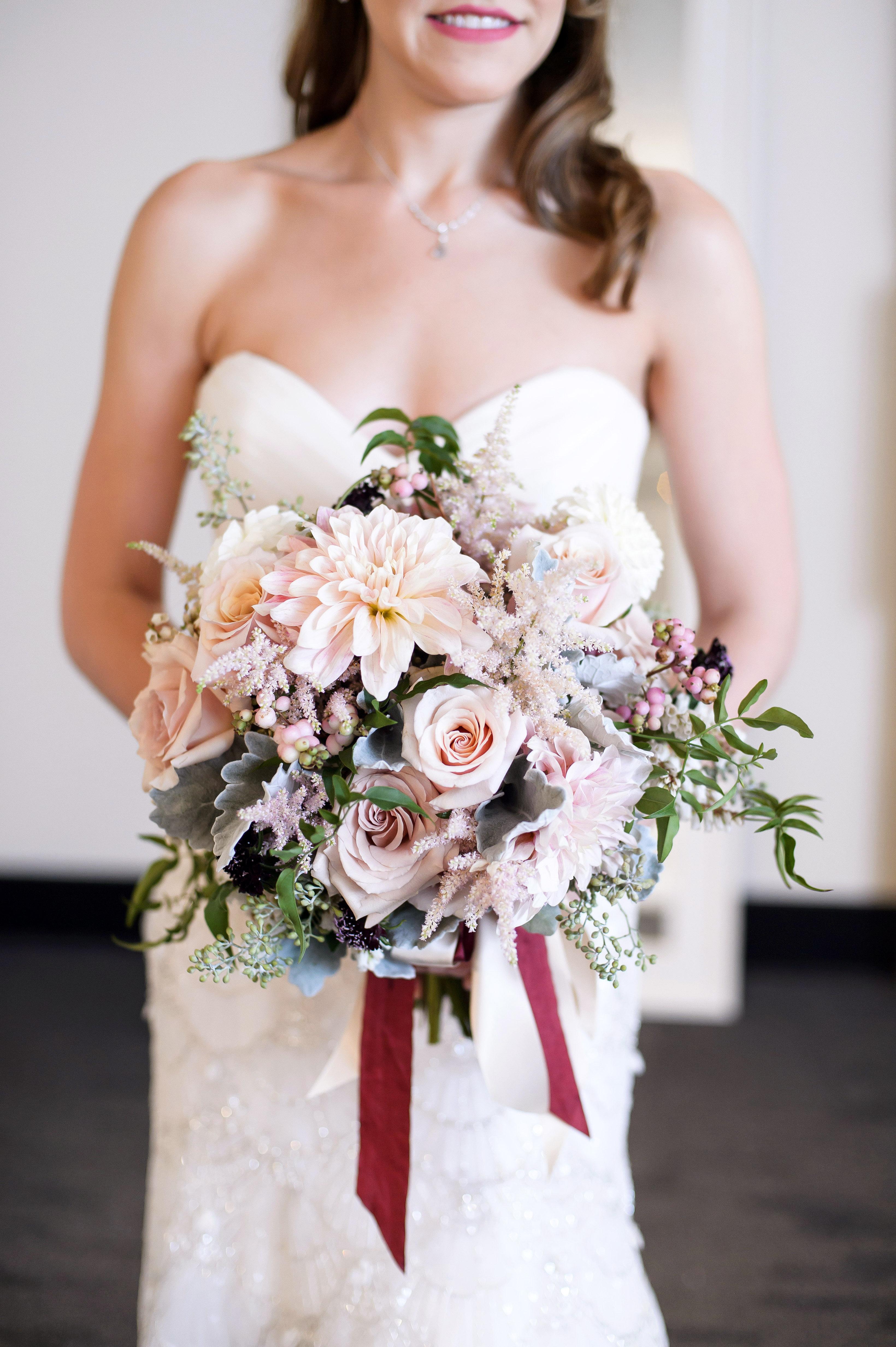 bride dahlia bouquet pastel lavender flowers