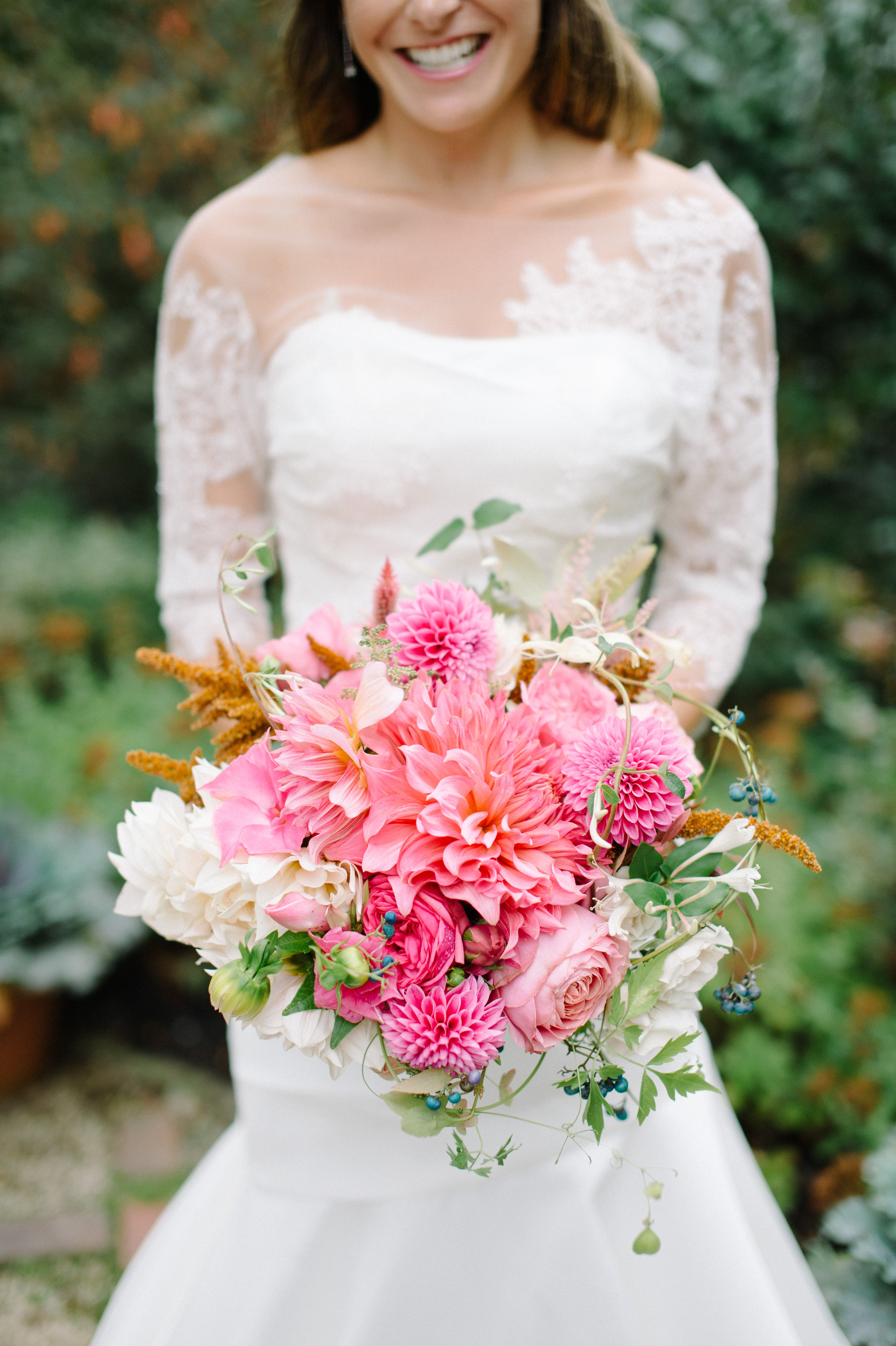 pink dahlia wedding bouquet