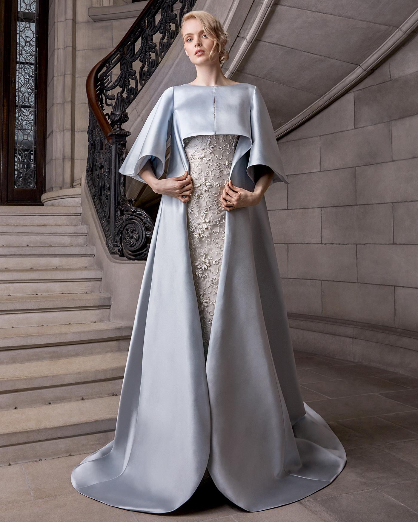 sareh nouri floral applique cape wedding dress spring 2020