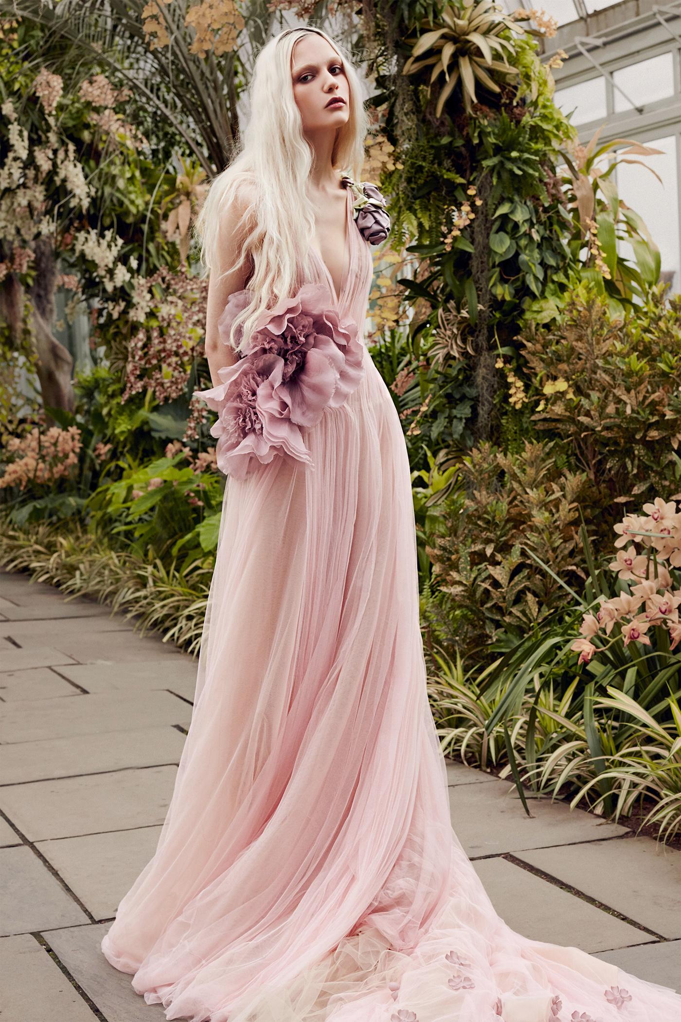 vera wang pink tulle v-neck wedding dress spring 2020