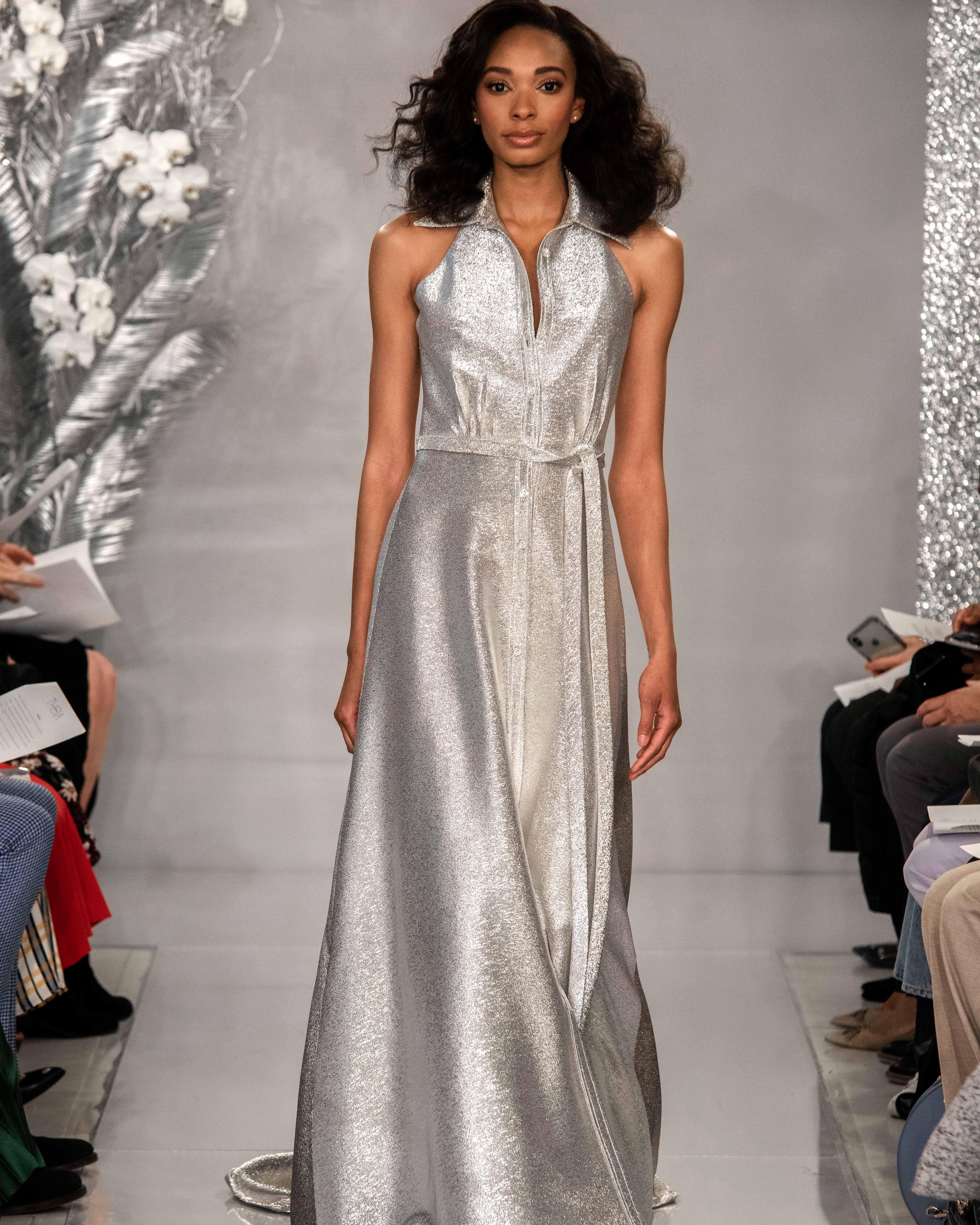 THEIA platinum halter shirt wedding dress Spring 2020