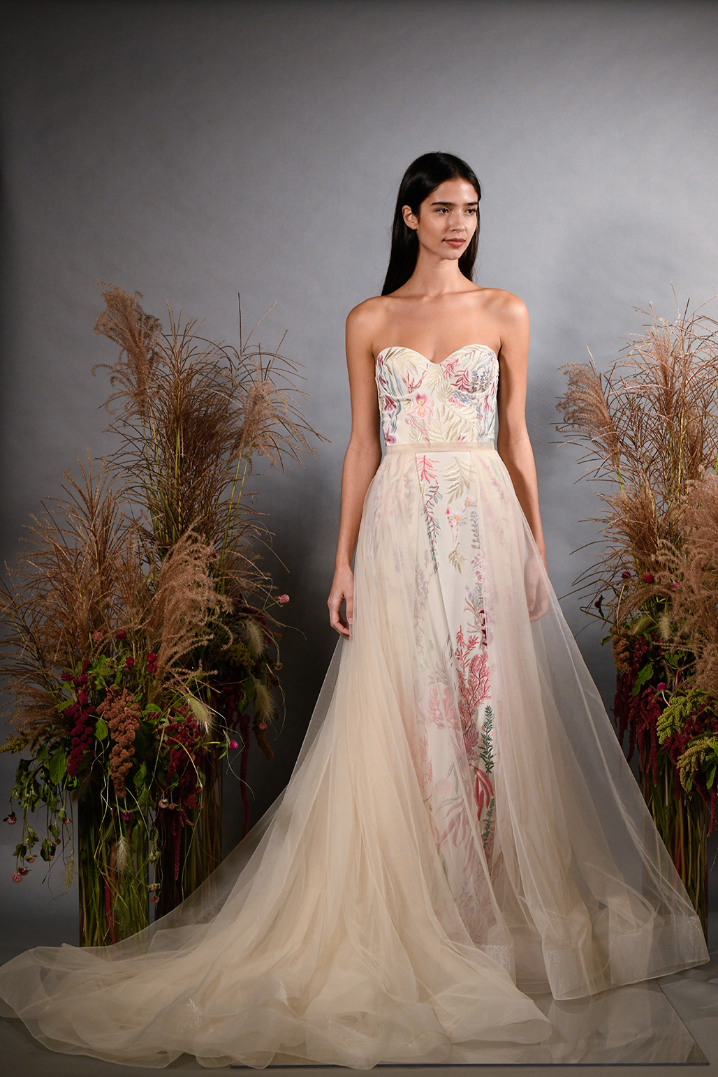 hermione de paula fall 2019 strapless sweetheart sheath with multi-colored floral embroidery and pink overskirt