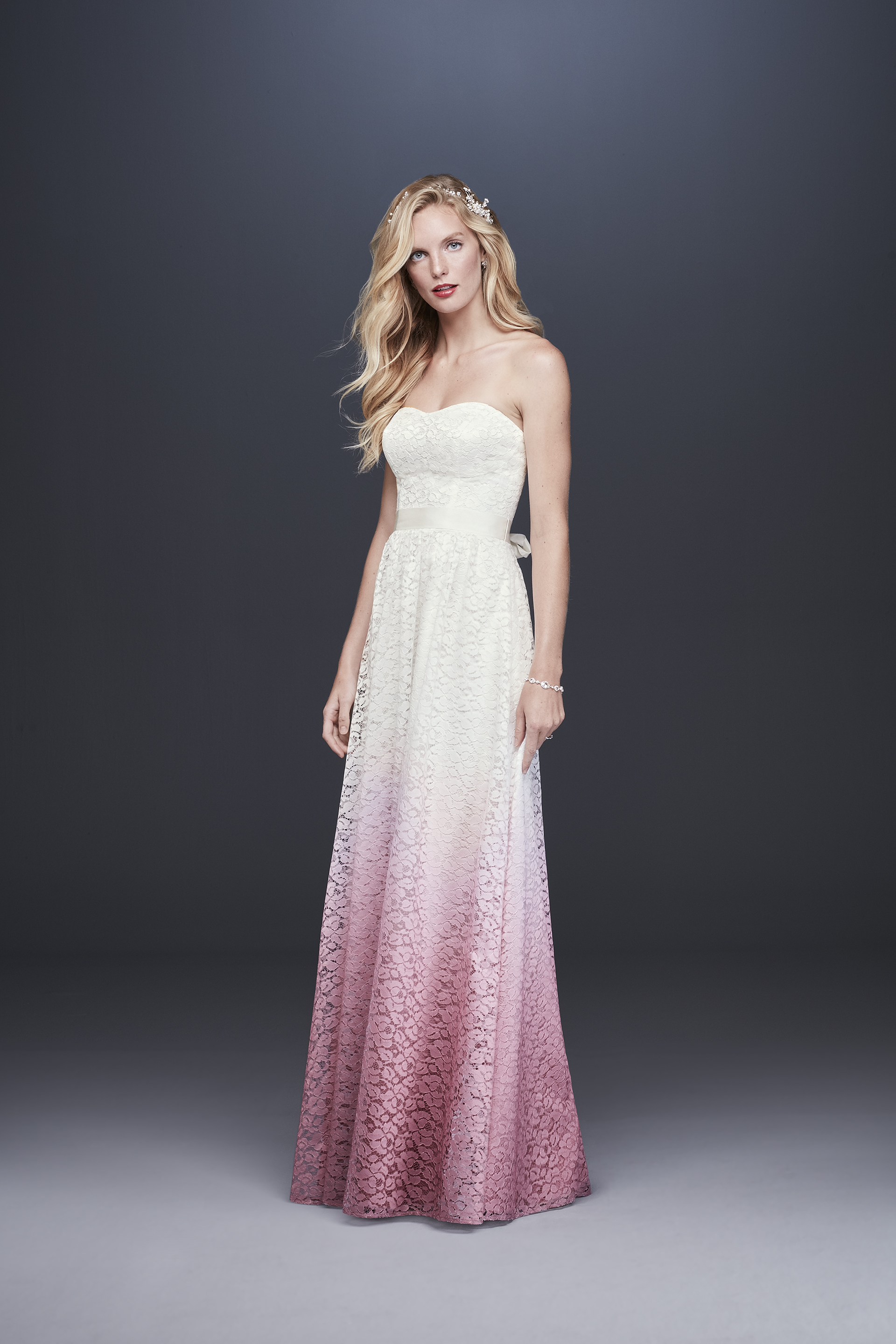 davids bridal galina fall 2019 a line sweetheart neckline strapless lace pink ombre