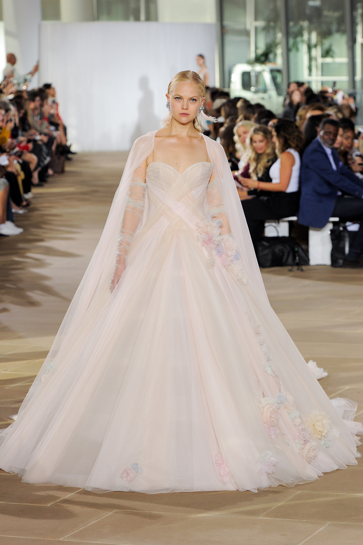 ines di santo fall 2019 strapless sweetheart ballgown with pastel flowers and cape
