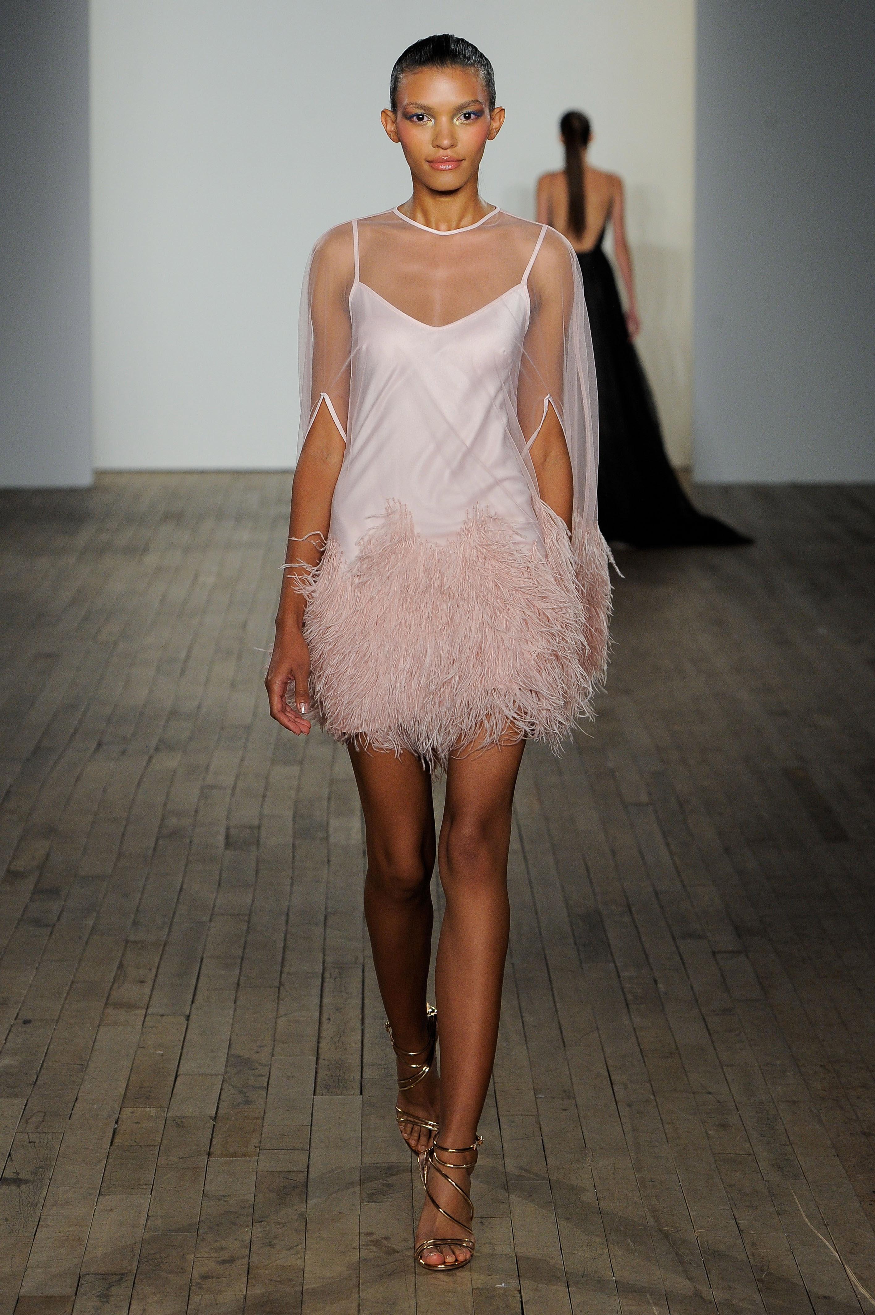 haley paige fall 2019 illusion high neckline fringe pink wedding dress