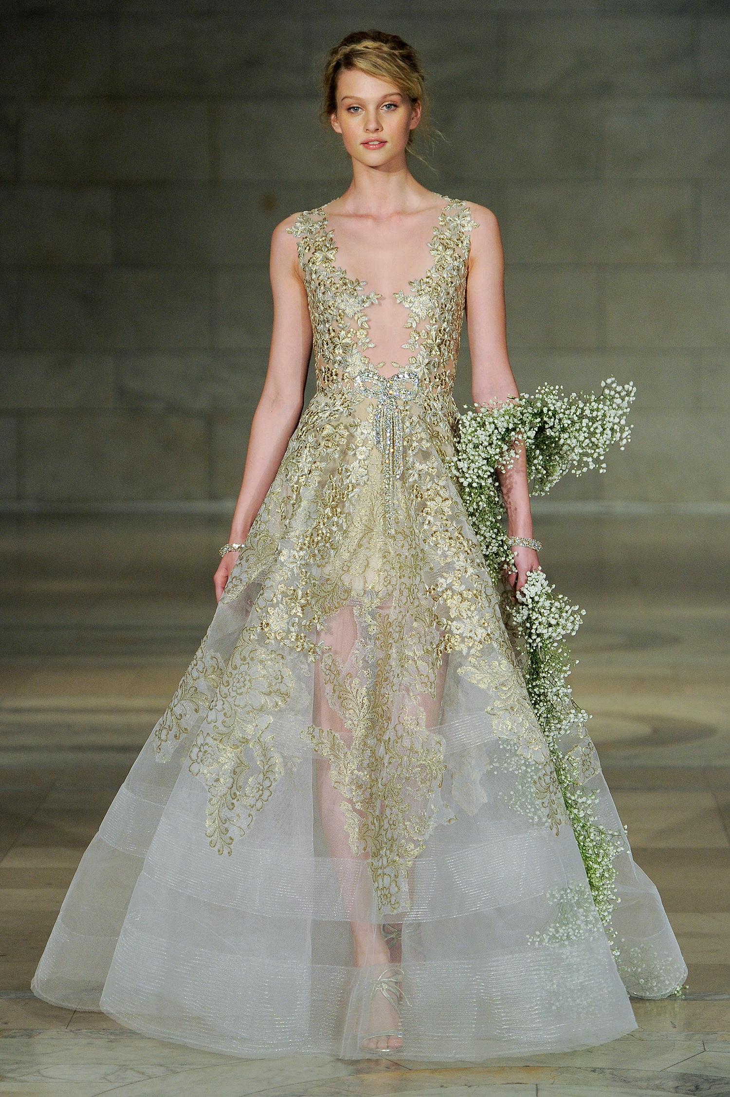reem acra bridal market wedding dress fall 2018 gold a-line
