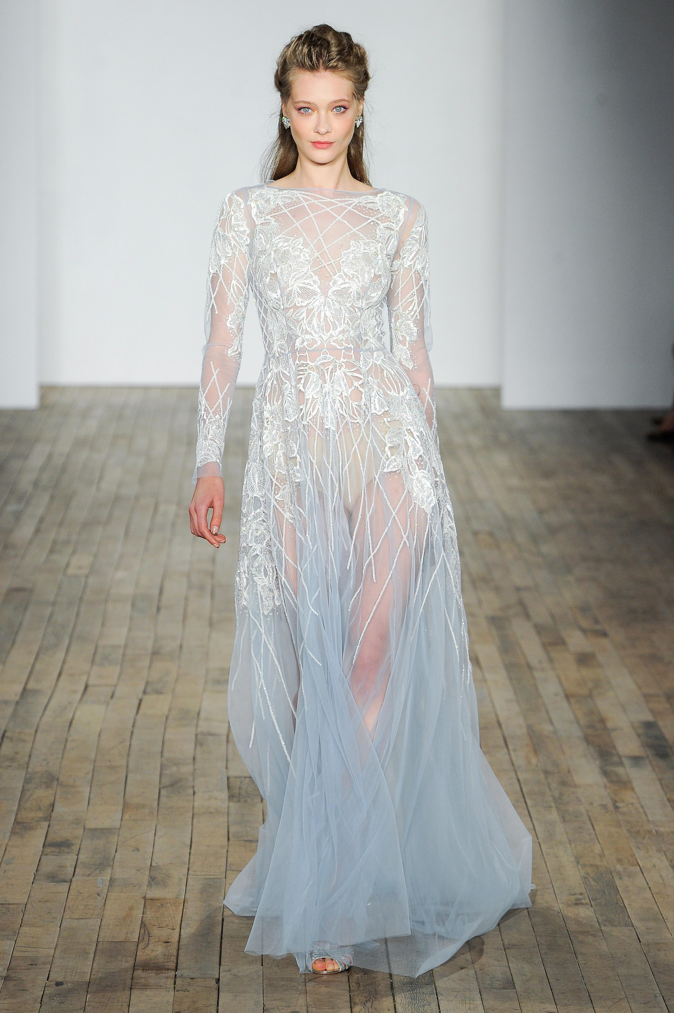hayley paige fall 2018 long sleeve sheer wedding dress