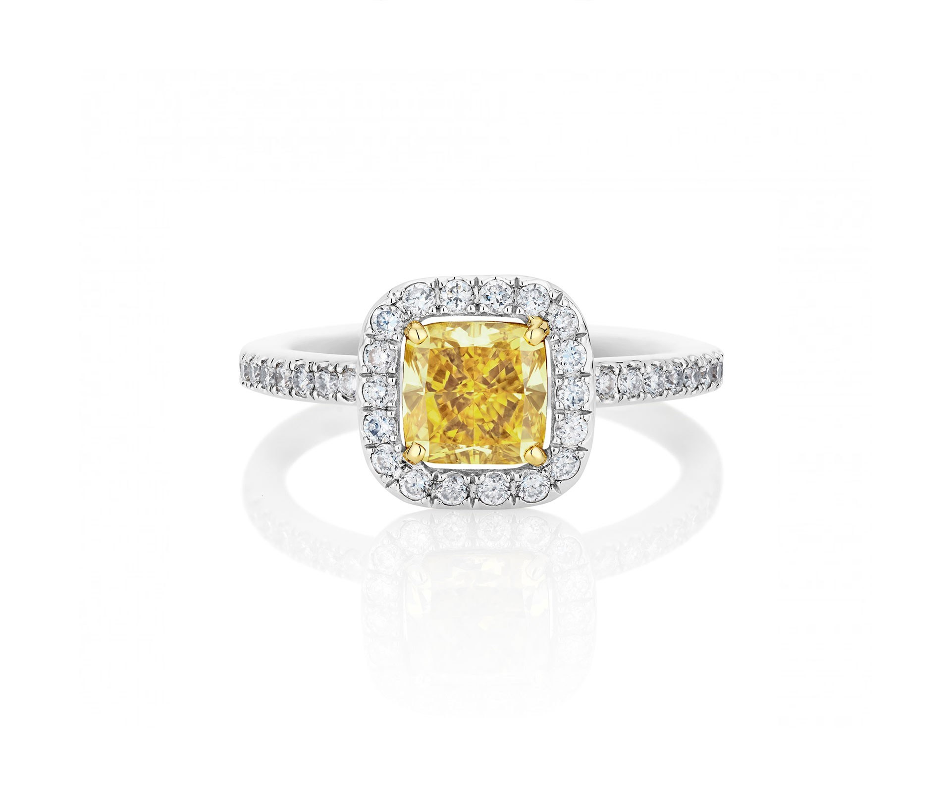 Yellow Aura Cushion-Cut Ring