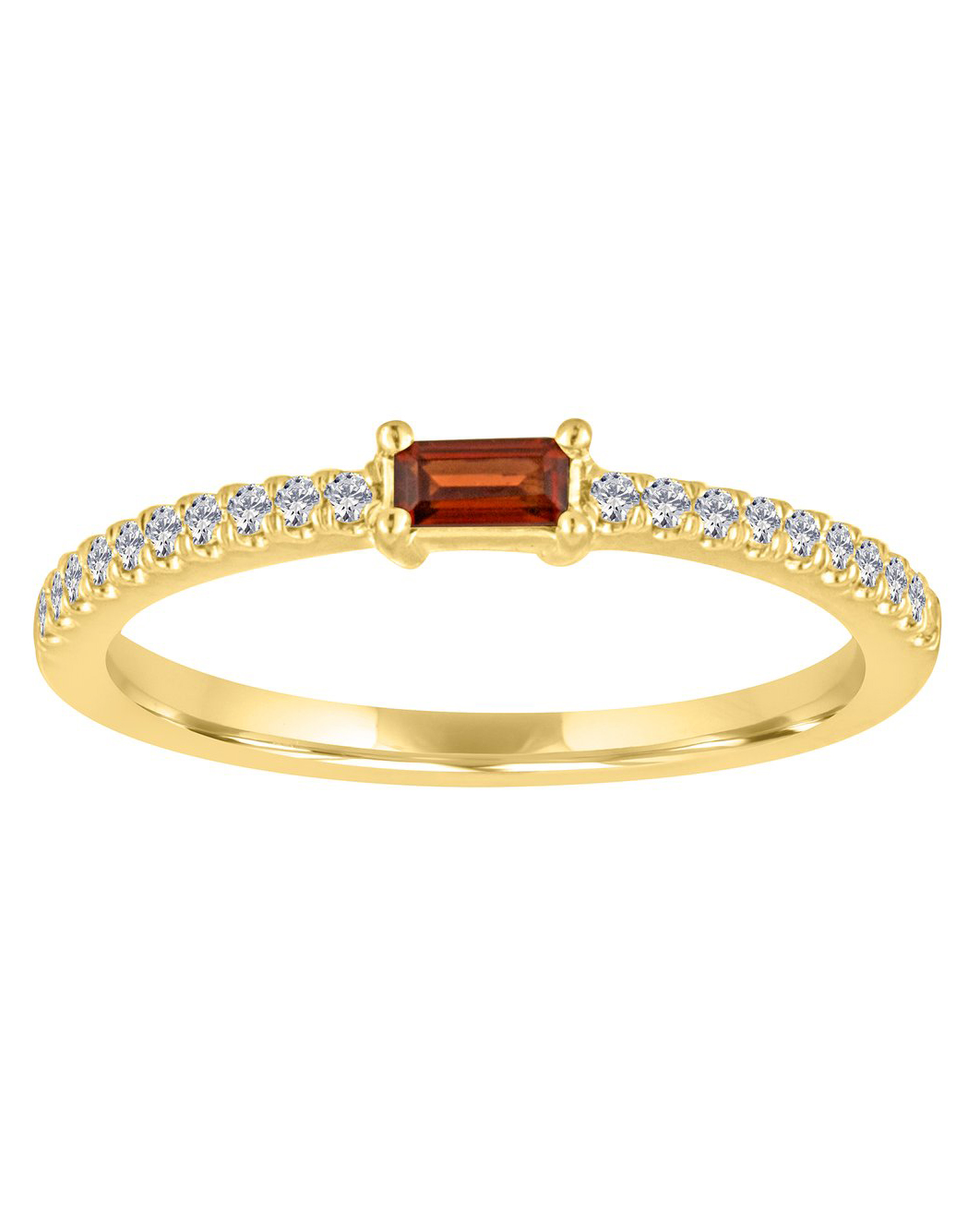 rectangular jewel on gold diamond engraved band