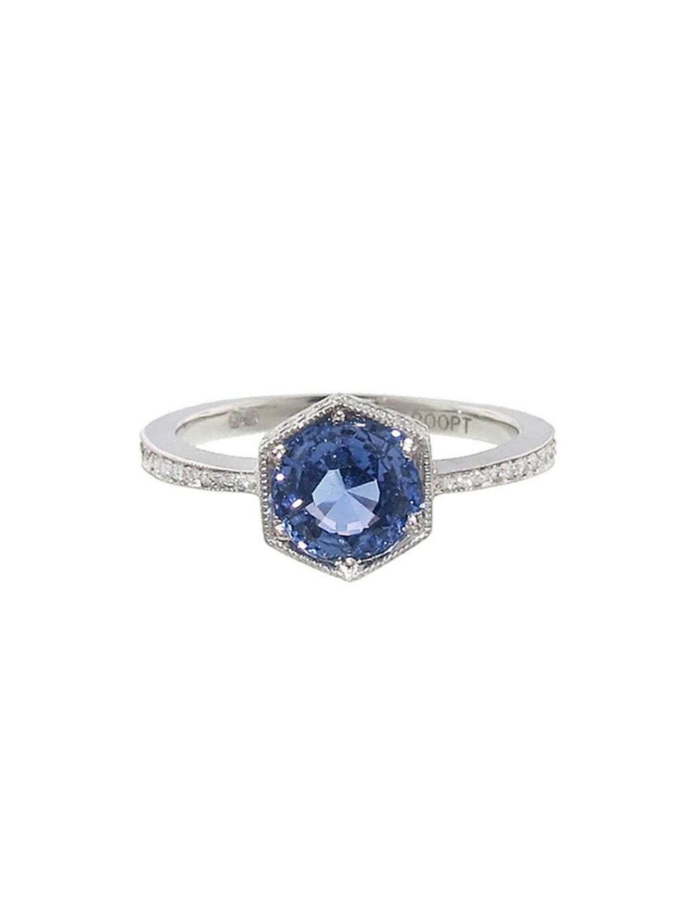 Hexagonal Blue Sapphire Bezel Ring