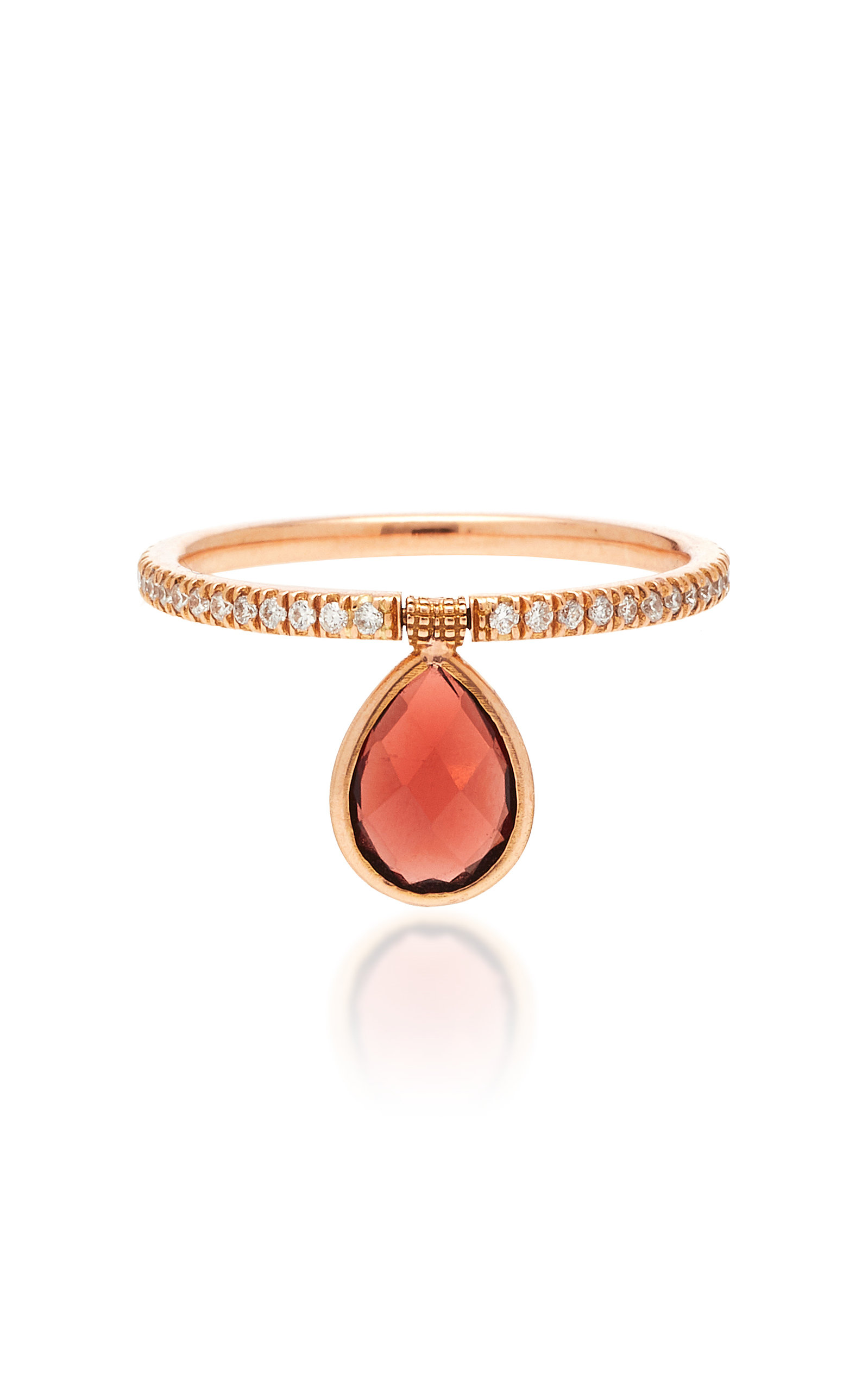 Rose Gold, Diamond, and Garnet Ring