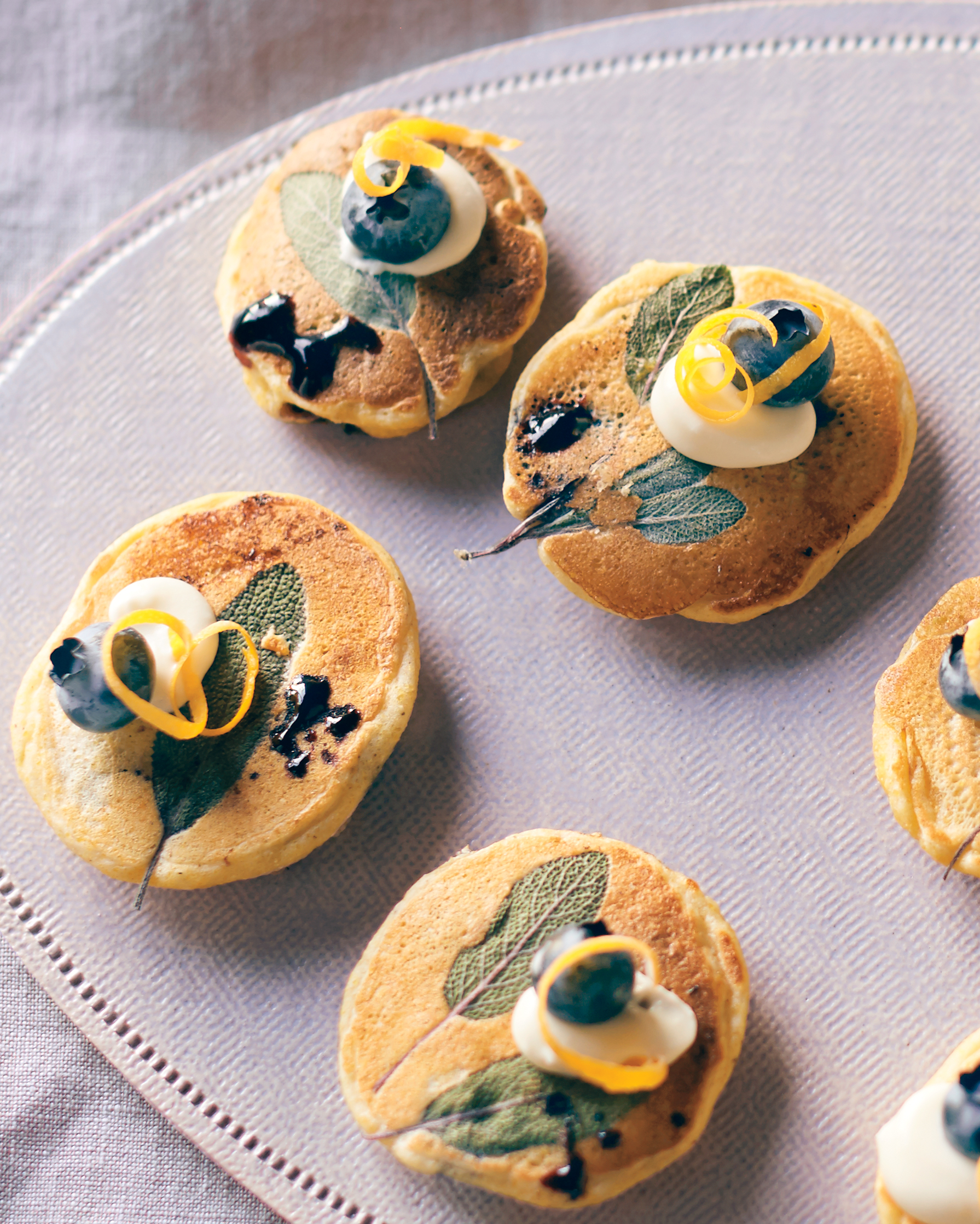 Mini Corn Cakes with Blueberries and Sage