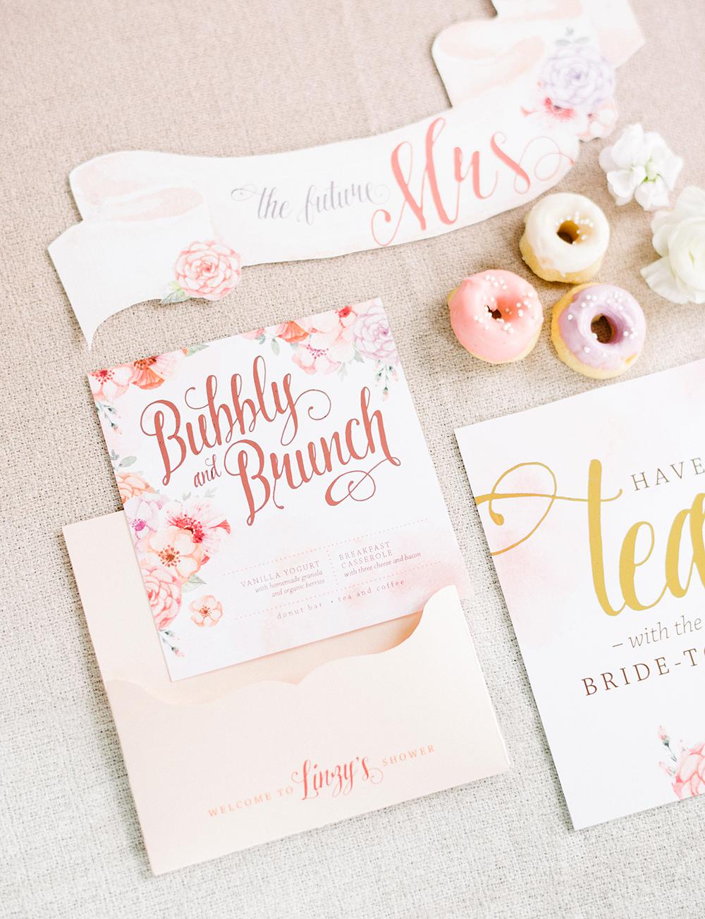 pink bridal shower brunch menu