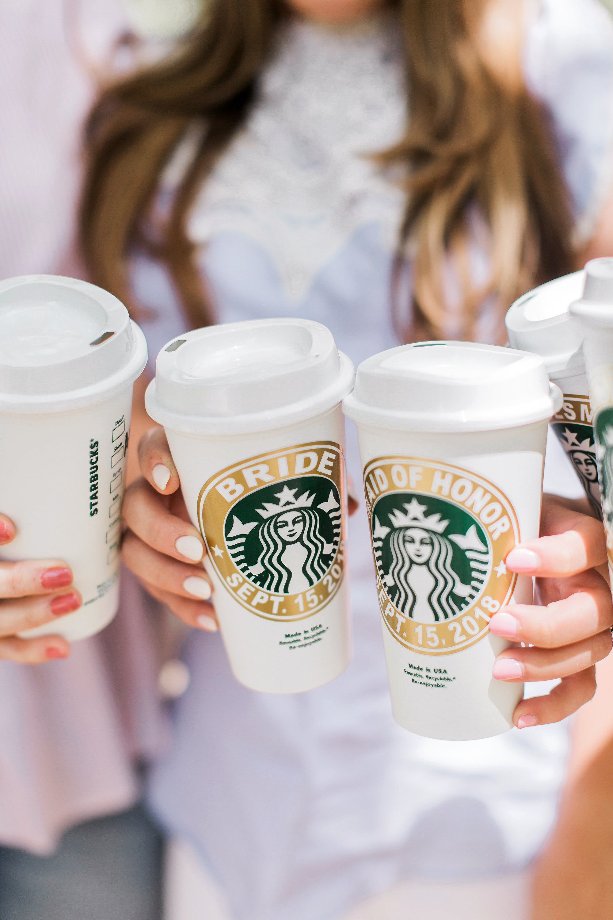 coffee wedding ideas bride bridesmaids starbucks custom cups