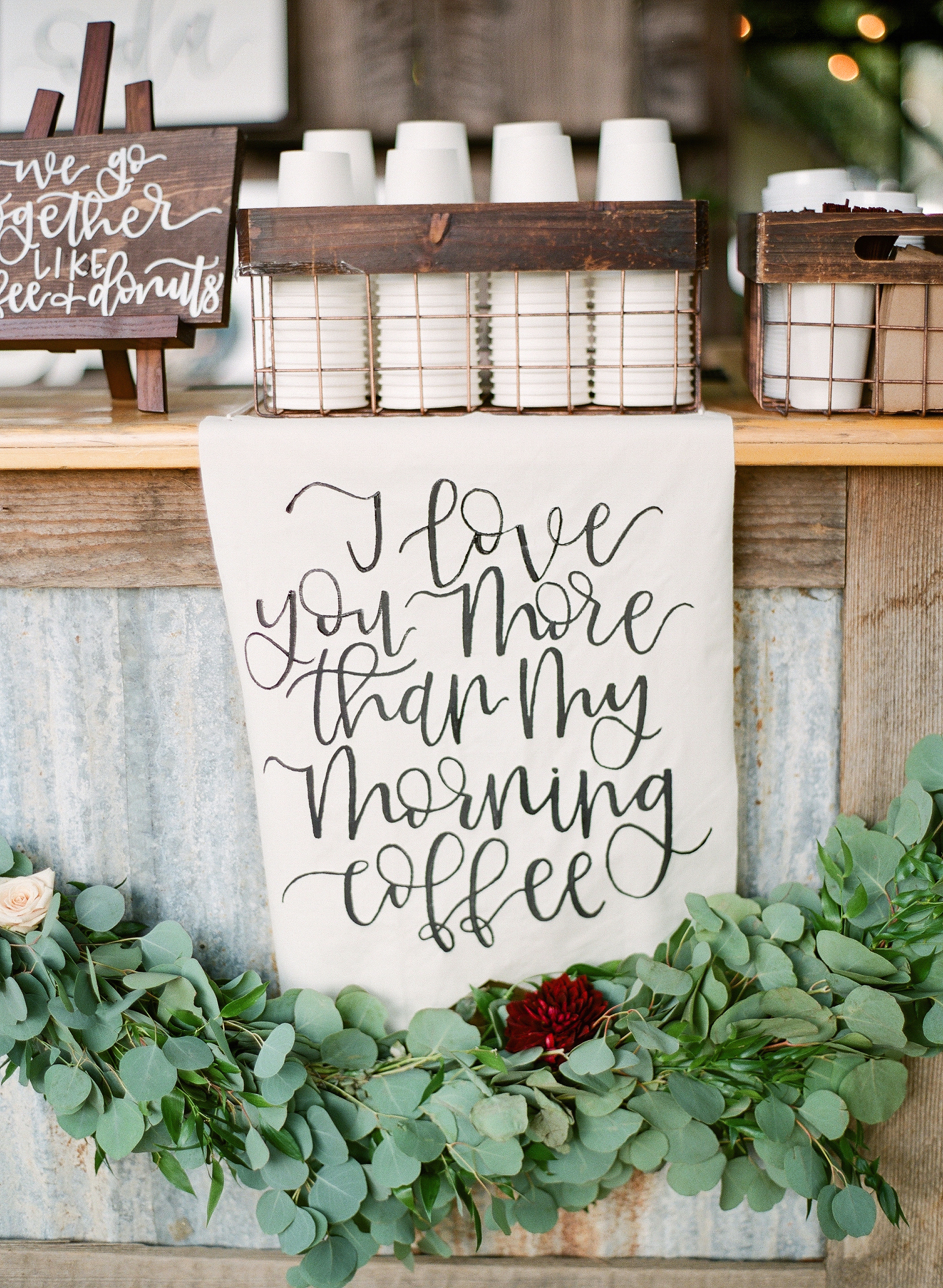 coffee wedding ideas bar with morning coffe love sign
