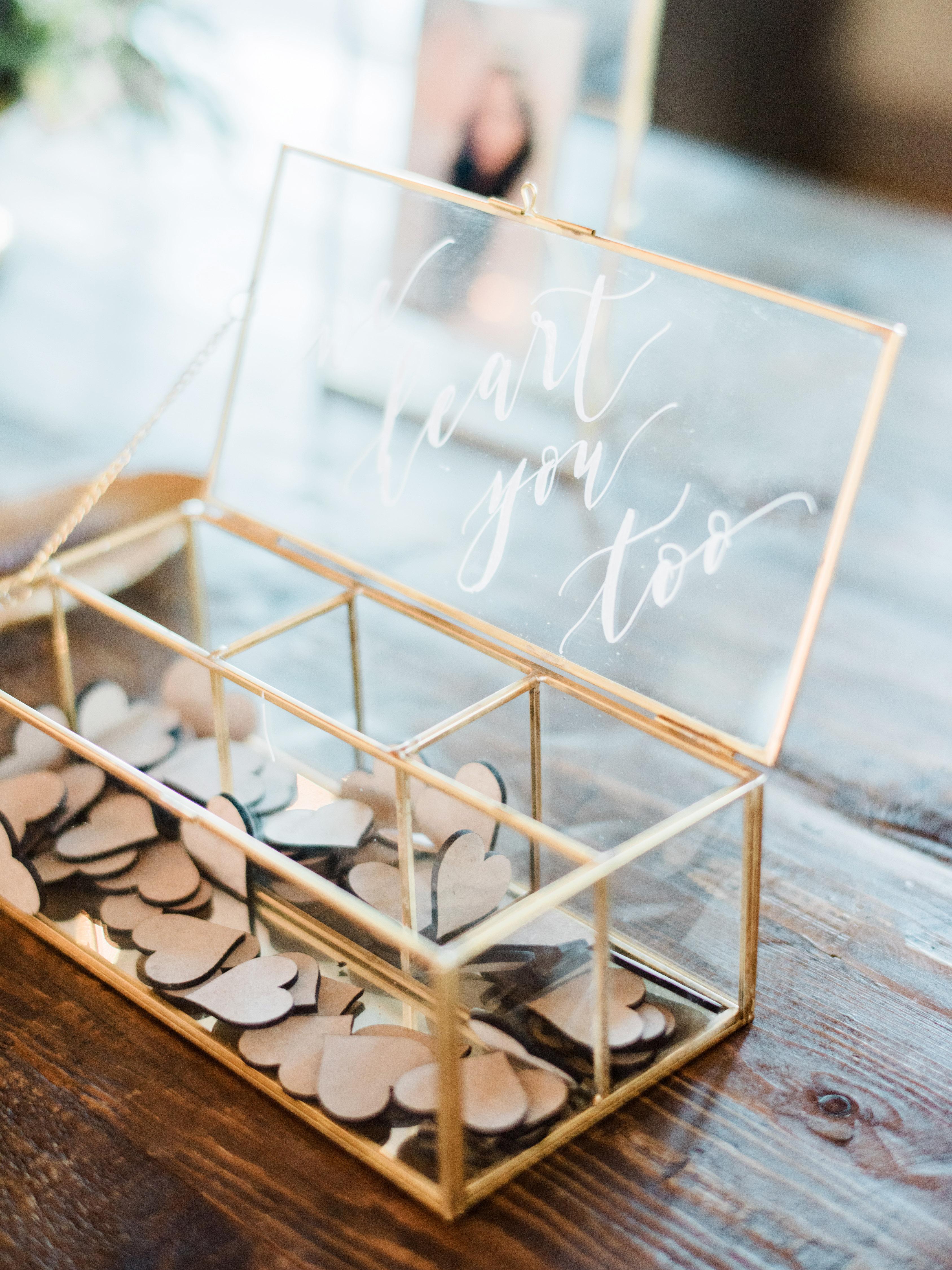 guest book hearts glass box