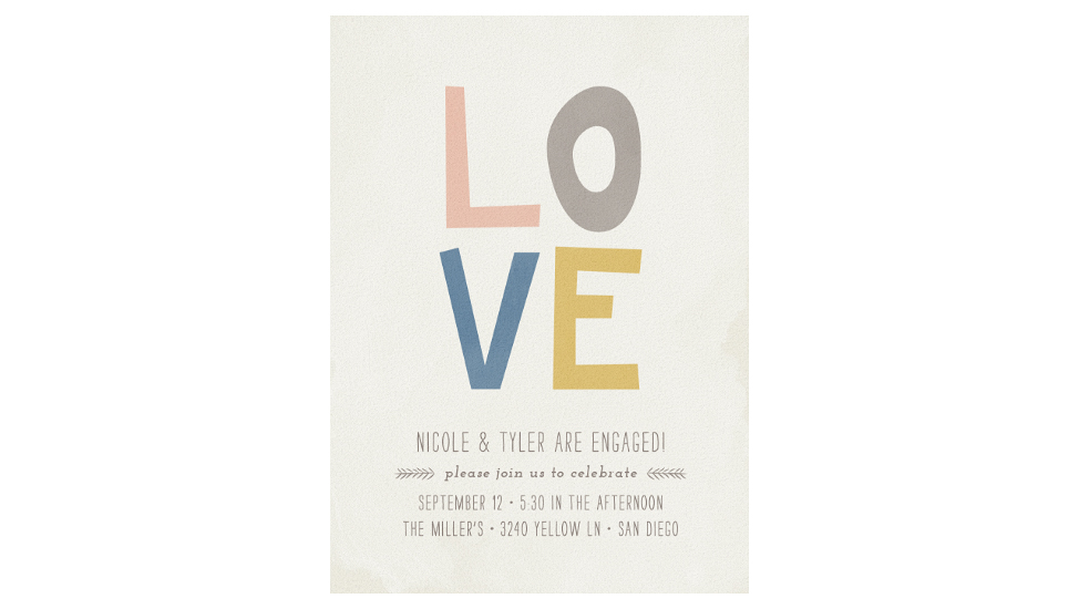 paperless engagement party invite love