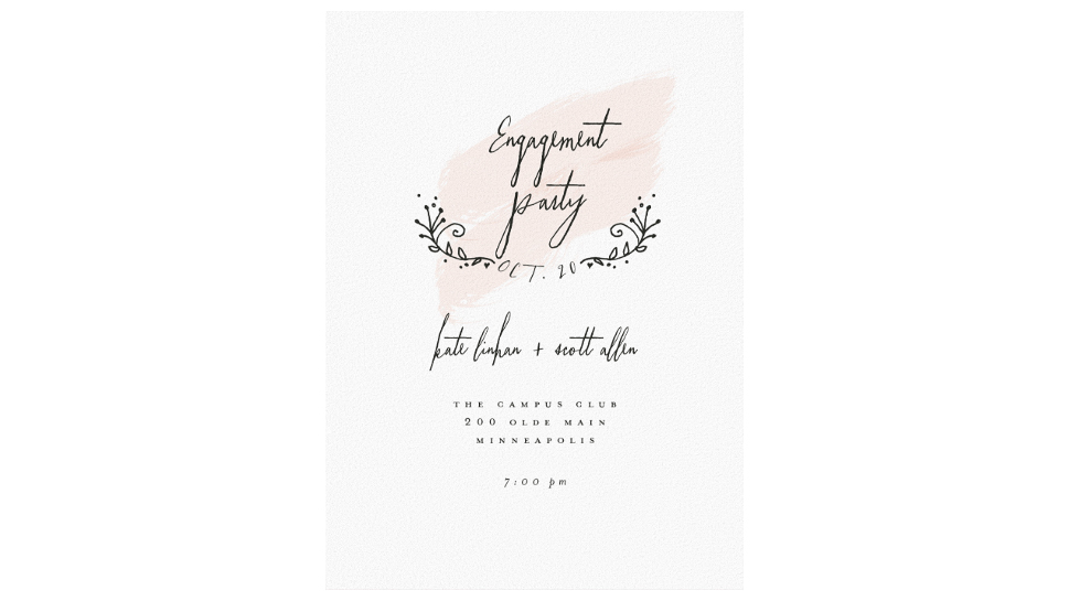 paperless engagement party invite blush pink