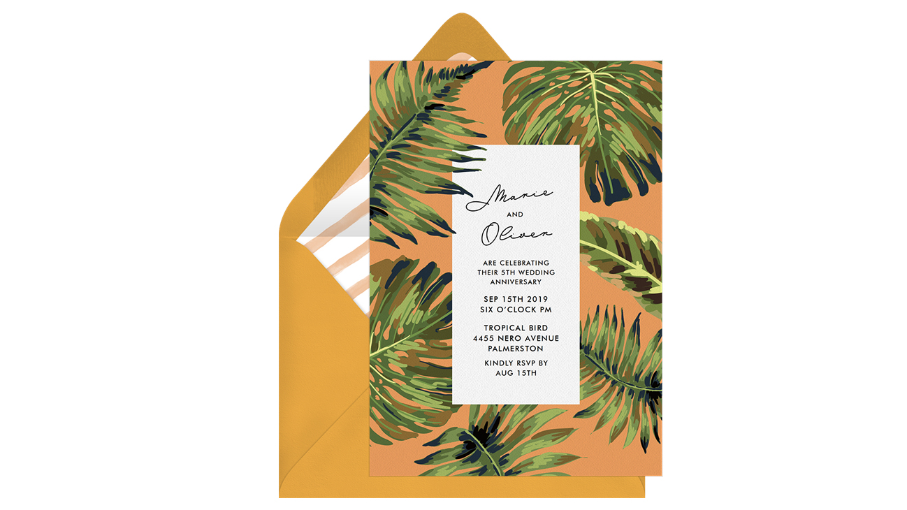 paperless engagement party invite palm leaves
