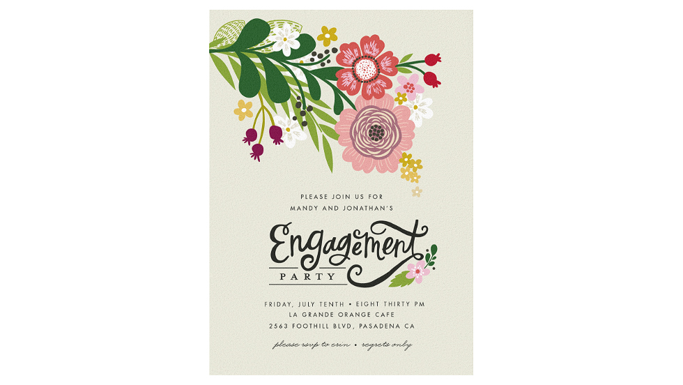 paperless engagement party invite floral
