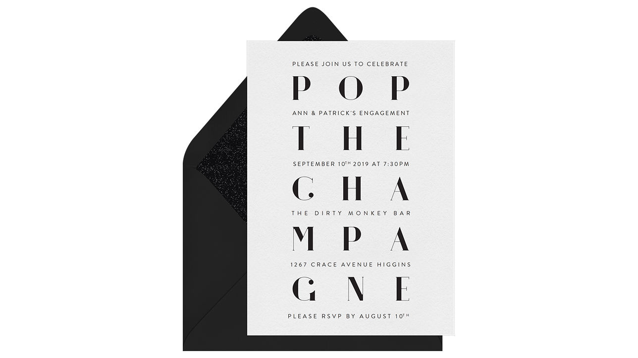 paperless engagement party invite pop champagne