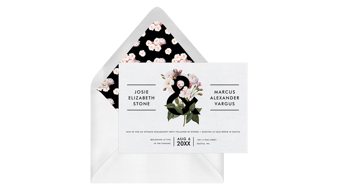 paperless engagement party invite botanical flower liner