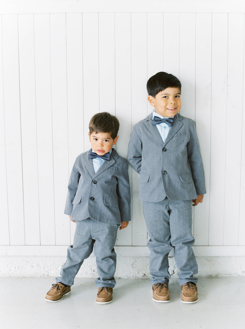 ring bearers gray suits loafers