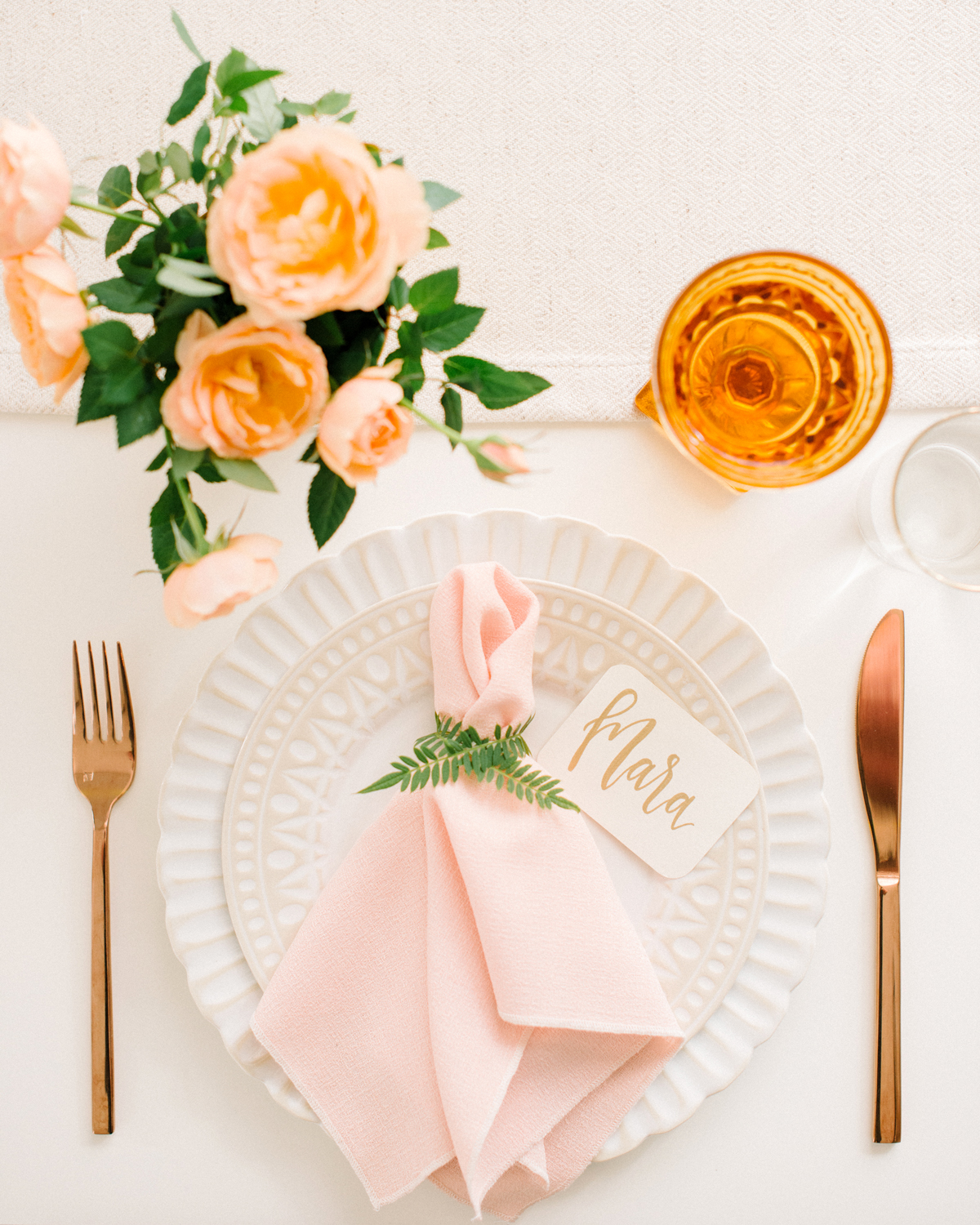 place setting with roses
