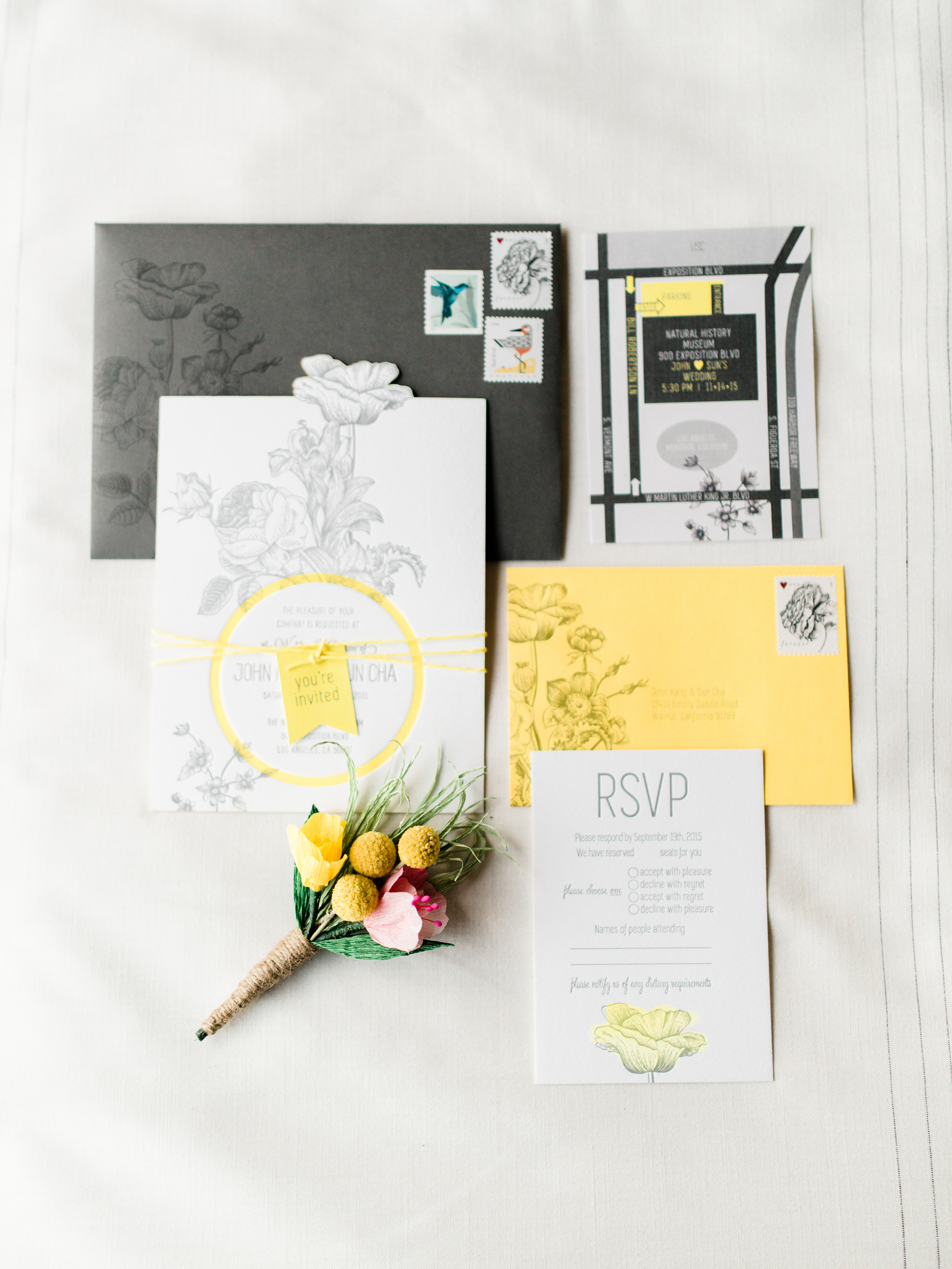 Yellow and Black Invite