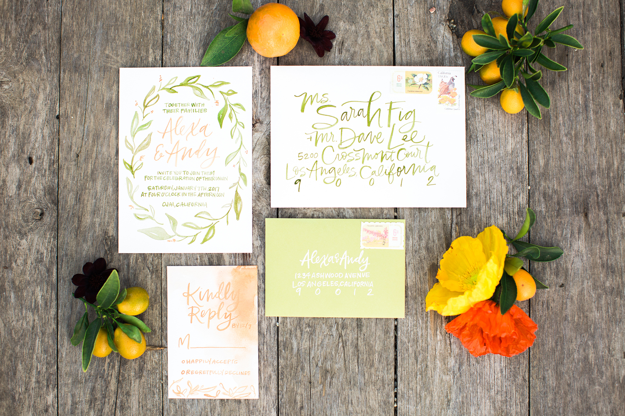 Bright green calligraphy wedding invitations for a summer wedding