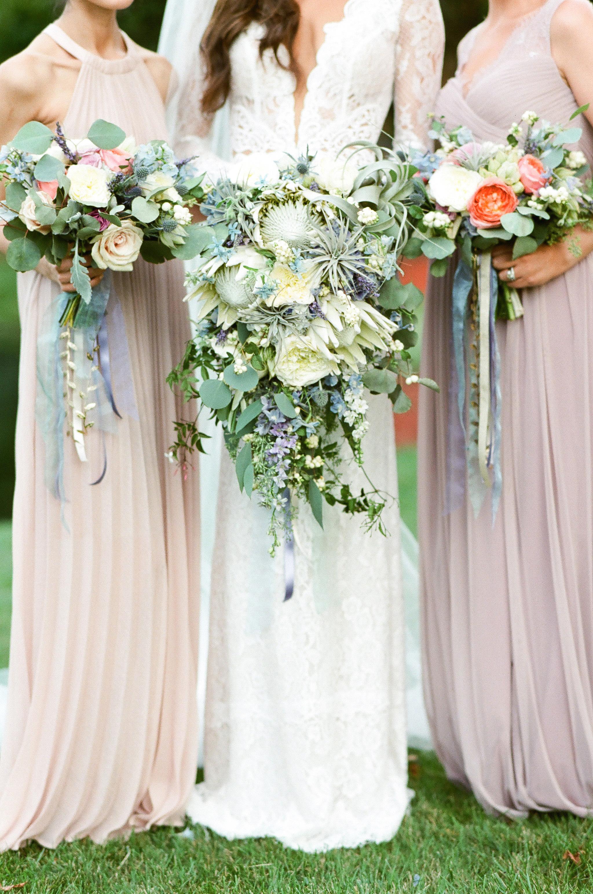 large cascading bouquets