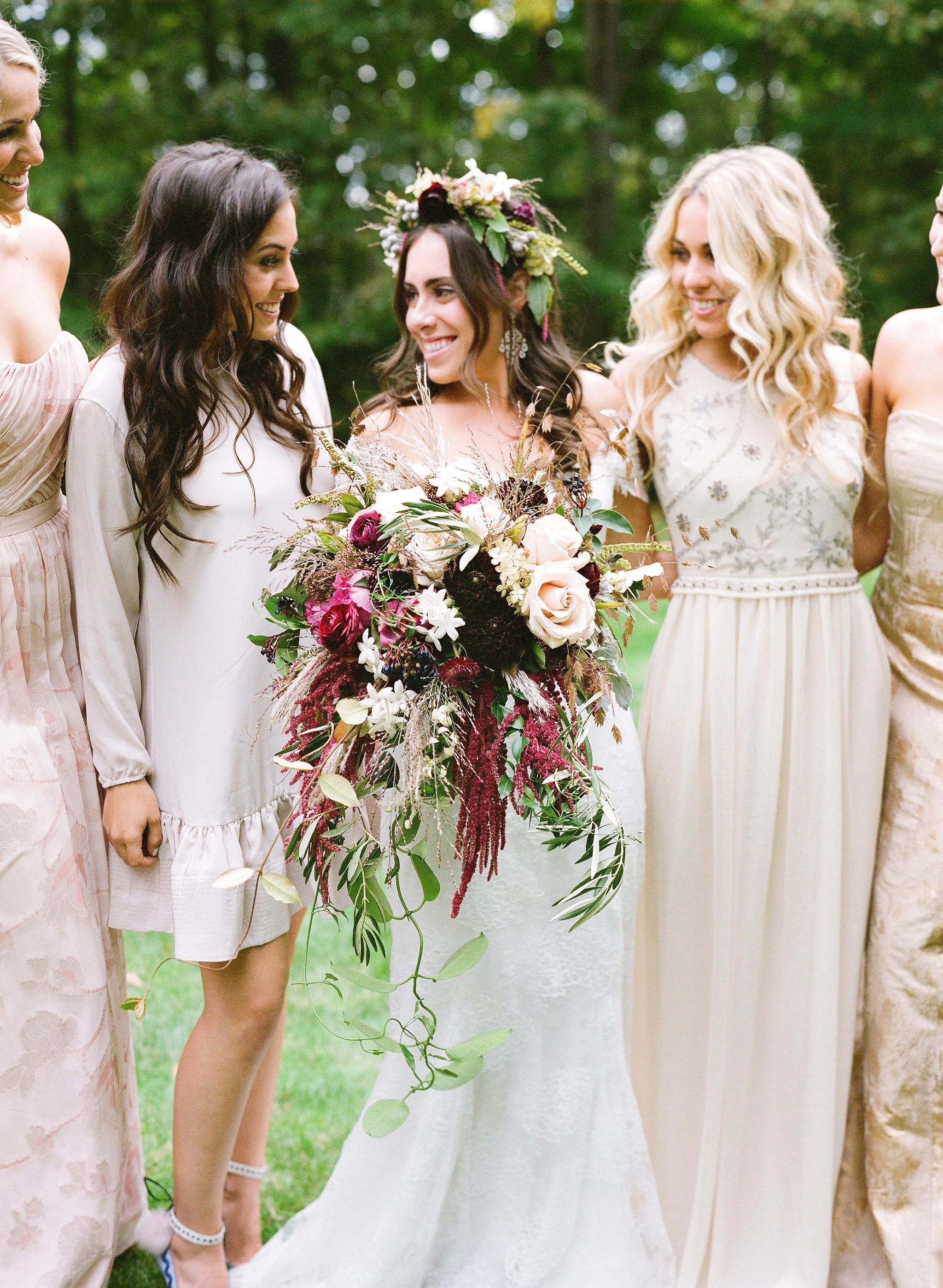 cascading bouquet brides bridesmaids